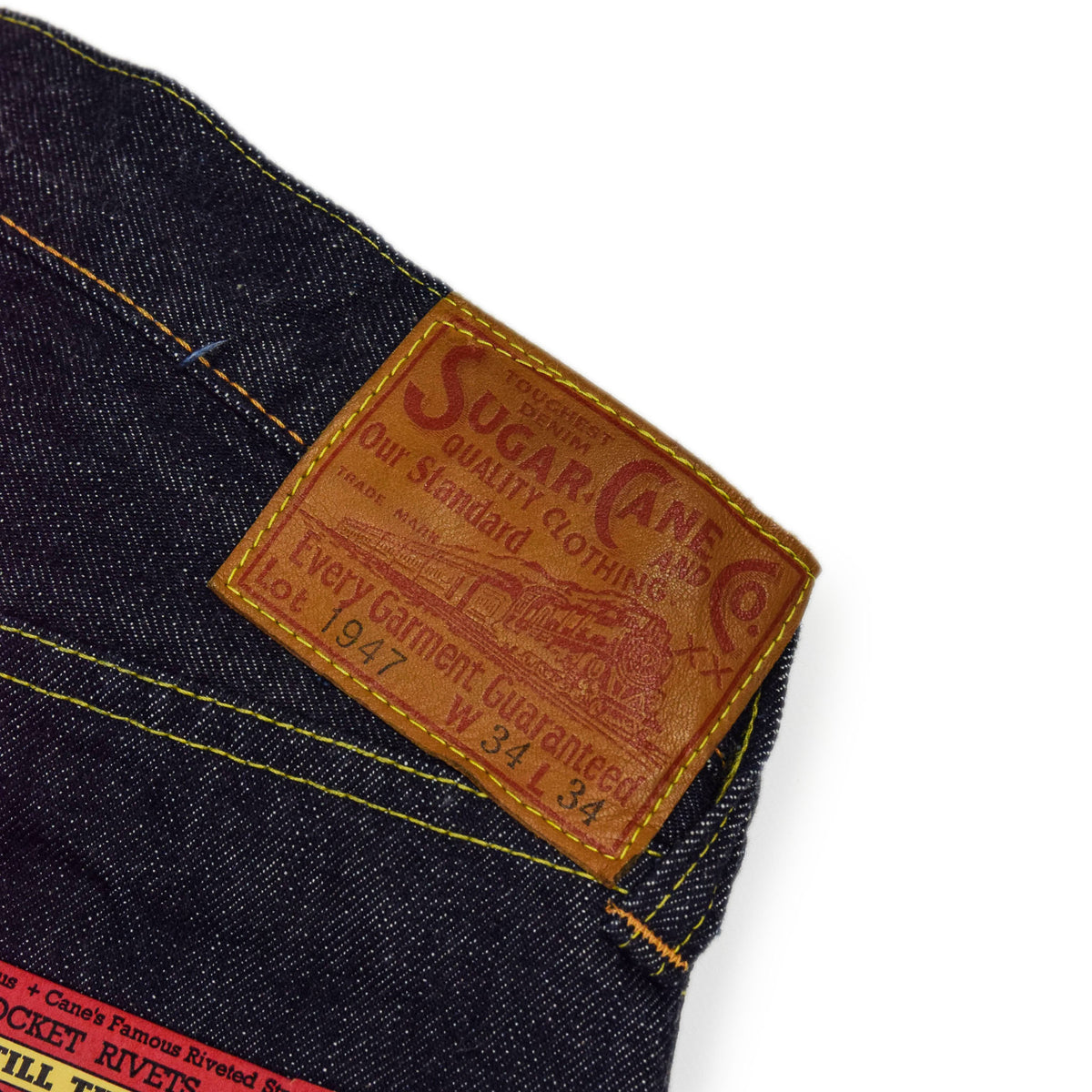 Sugar Cane One Wash Selvedge Denim Blue LEATHER PATCH