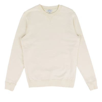 Sunspel Cotton Loopback Sweatshirt Archive White Front