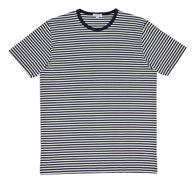 Sunspel Classic Crew T-Shirt White/Navy front