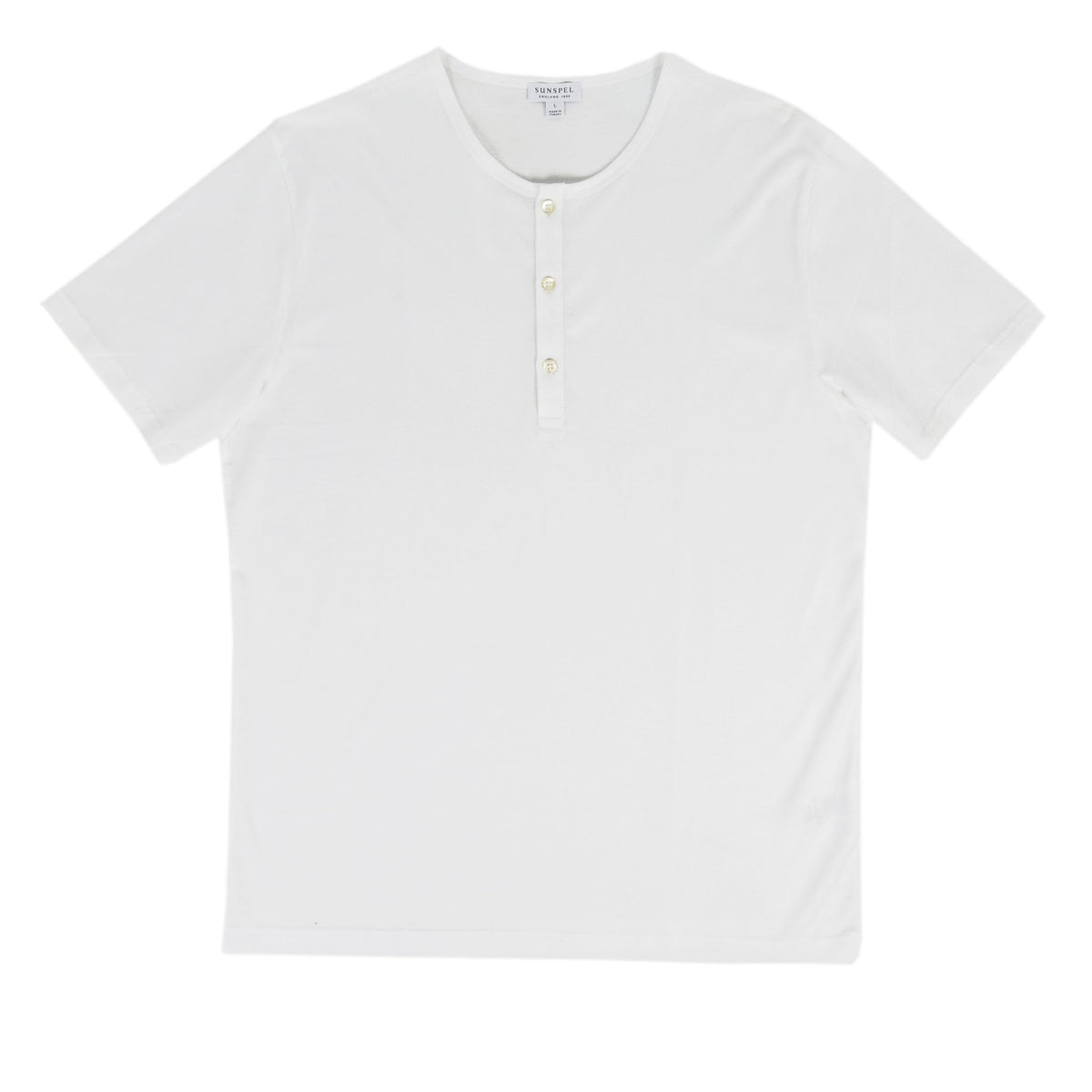 Sunspel Classic Henley T-Shirt White front