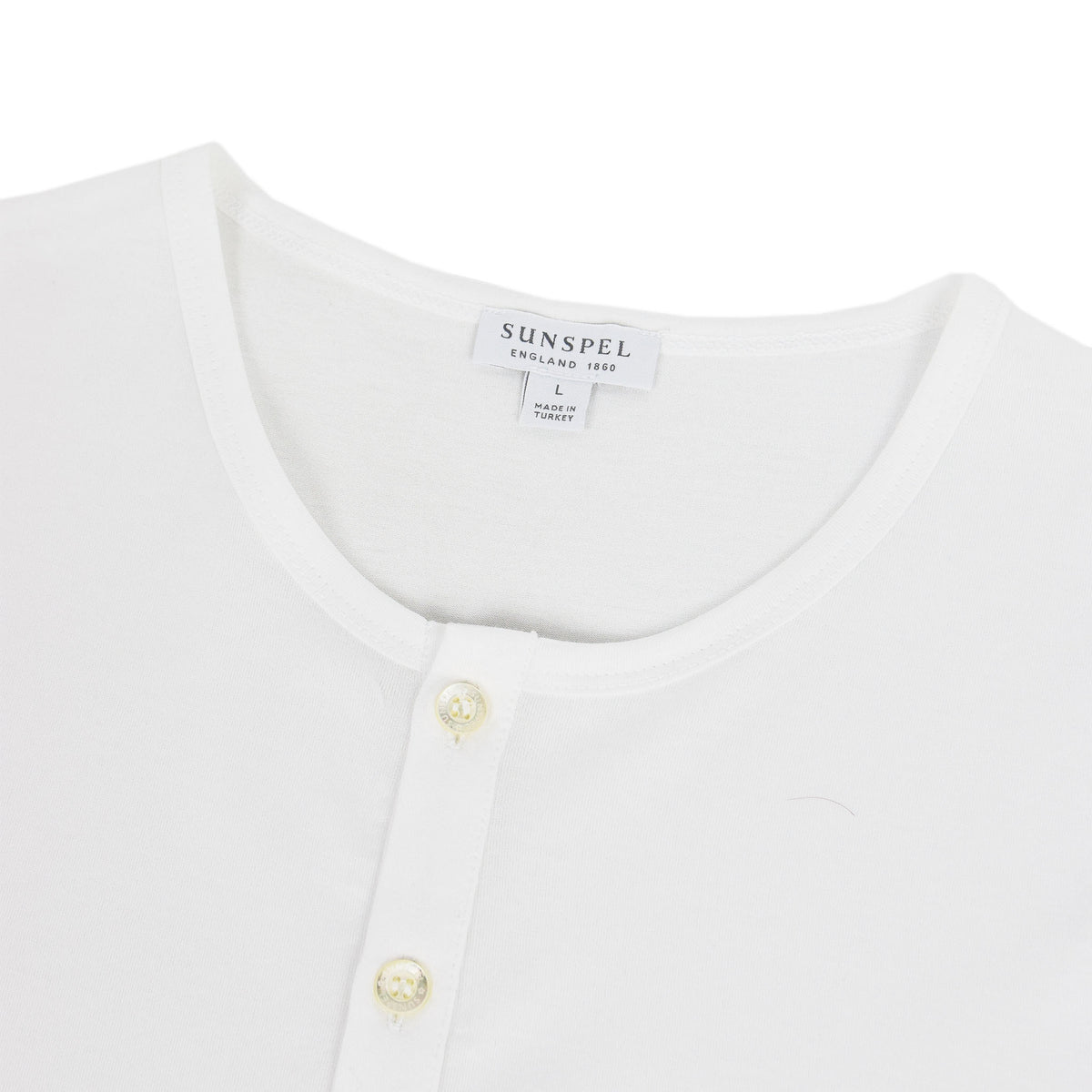 Sunspel Classic Henley T-Shirt White collar