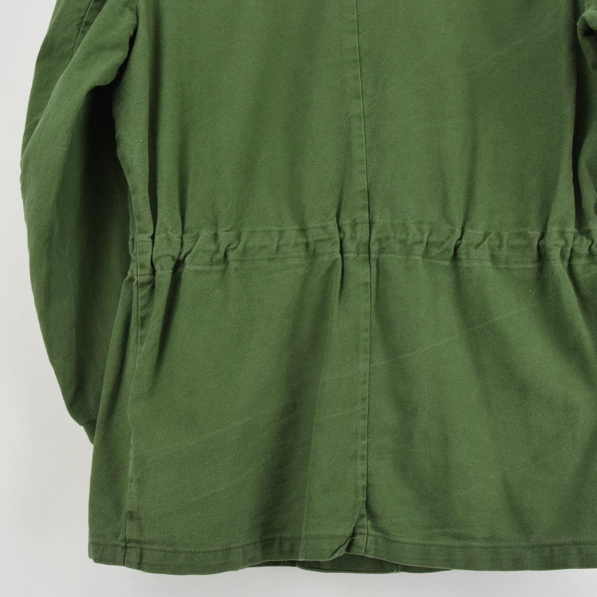 Vintage Swedish Worker Style Distressed Green Military Field Shirt Jacket M back hem