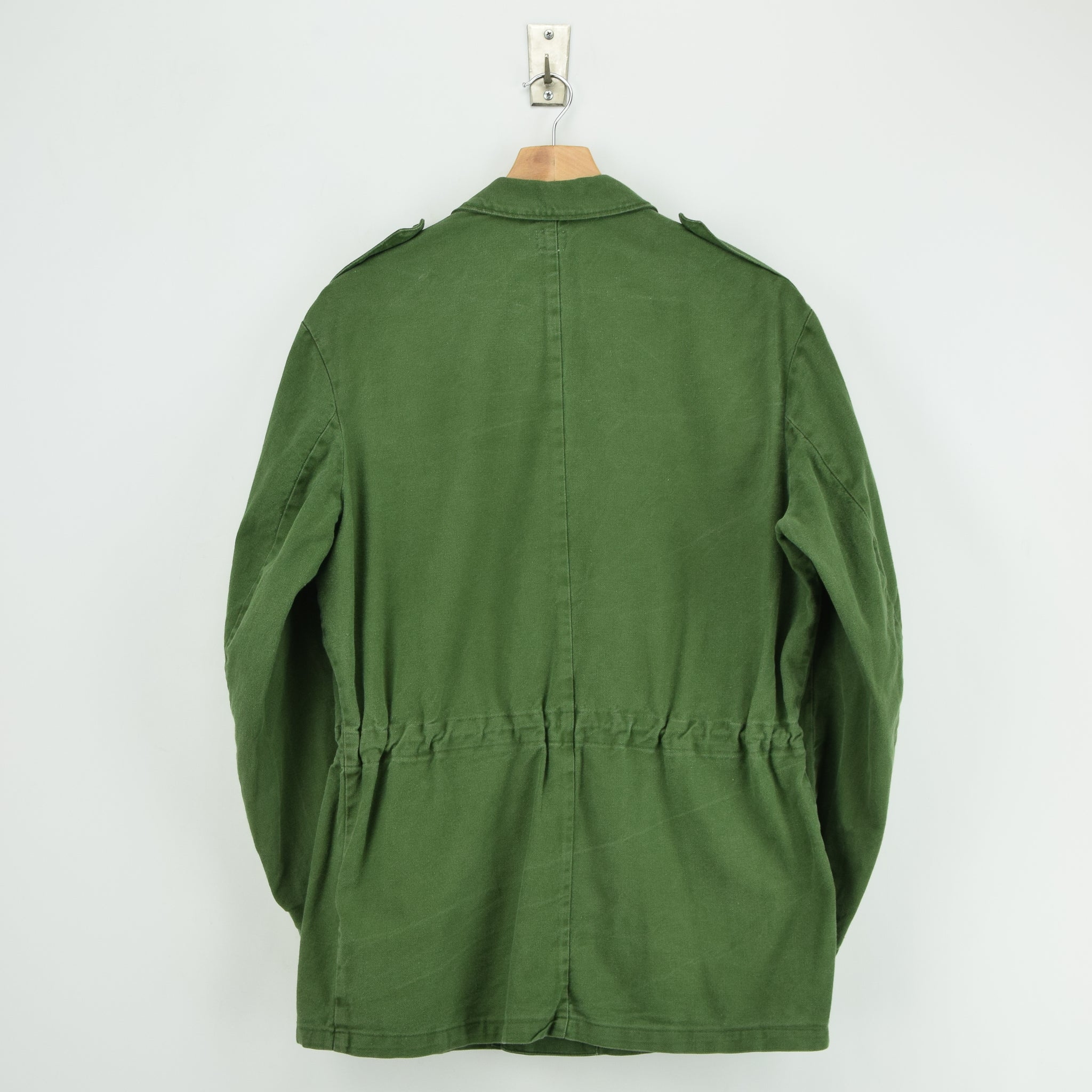 Vintage Swedish Worker Style Distressed Green Military Field Shirt Jacket M back