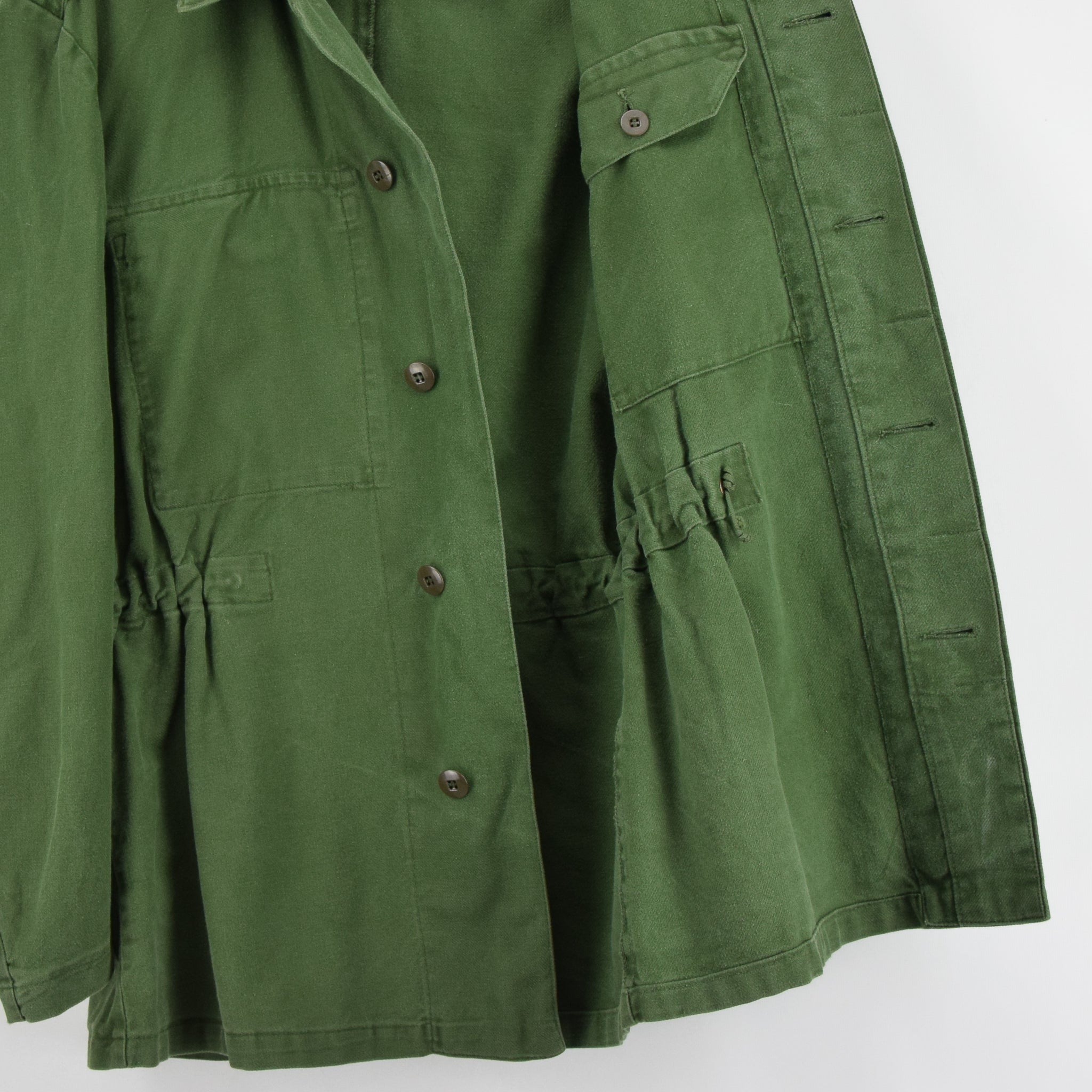 Vintage Swedish Worker Style Distressed Green Military Field Shirt Jacket M lining