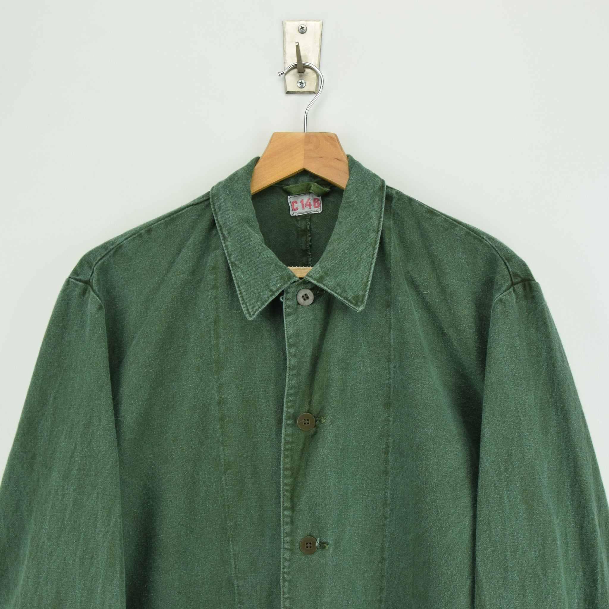 Vintage Swedish Worker Style Distressed Green Military Cotton Field Jacket M / L chest