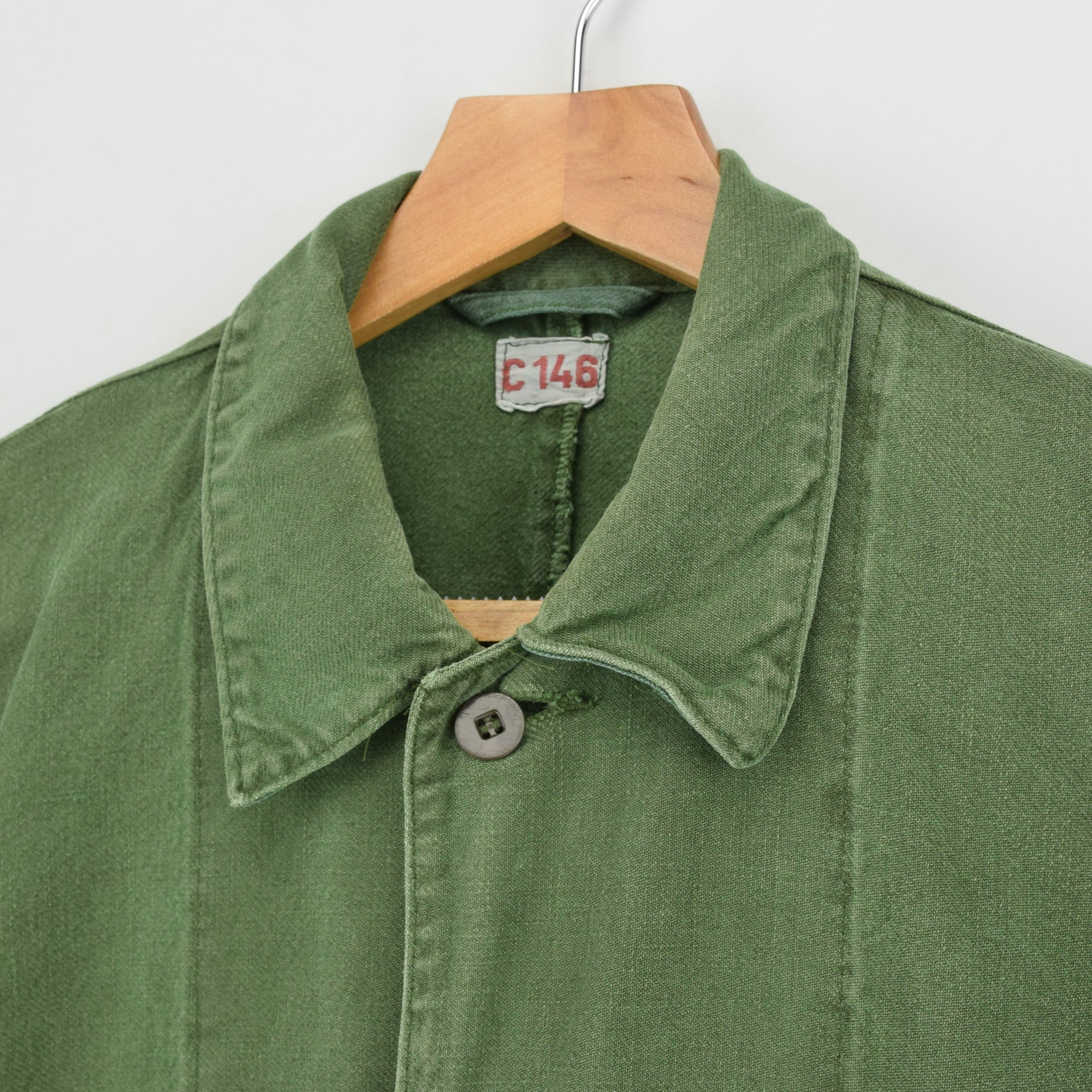 Vintage Swedish Worker Style Distressed Green Military Cotton Field Jacket M / L collar