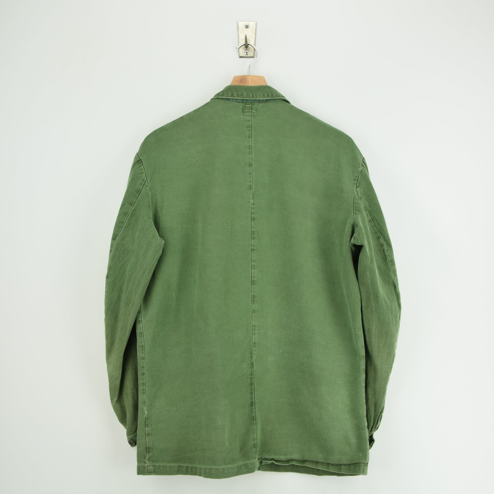 Vintage Swedish Worker Style Distressed Green Military Cotton Field Jacket M / L back