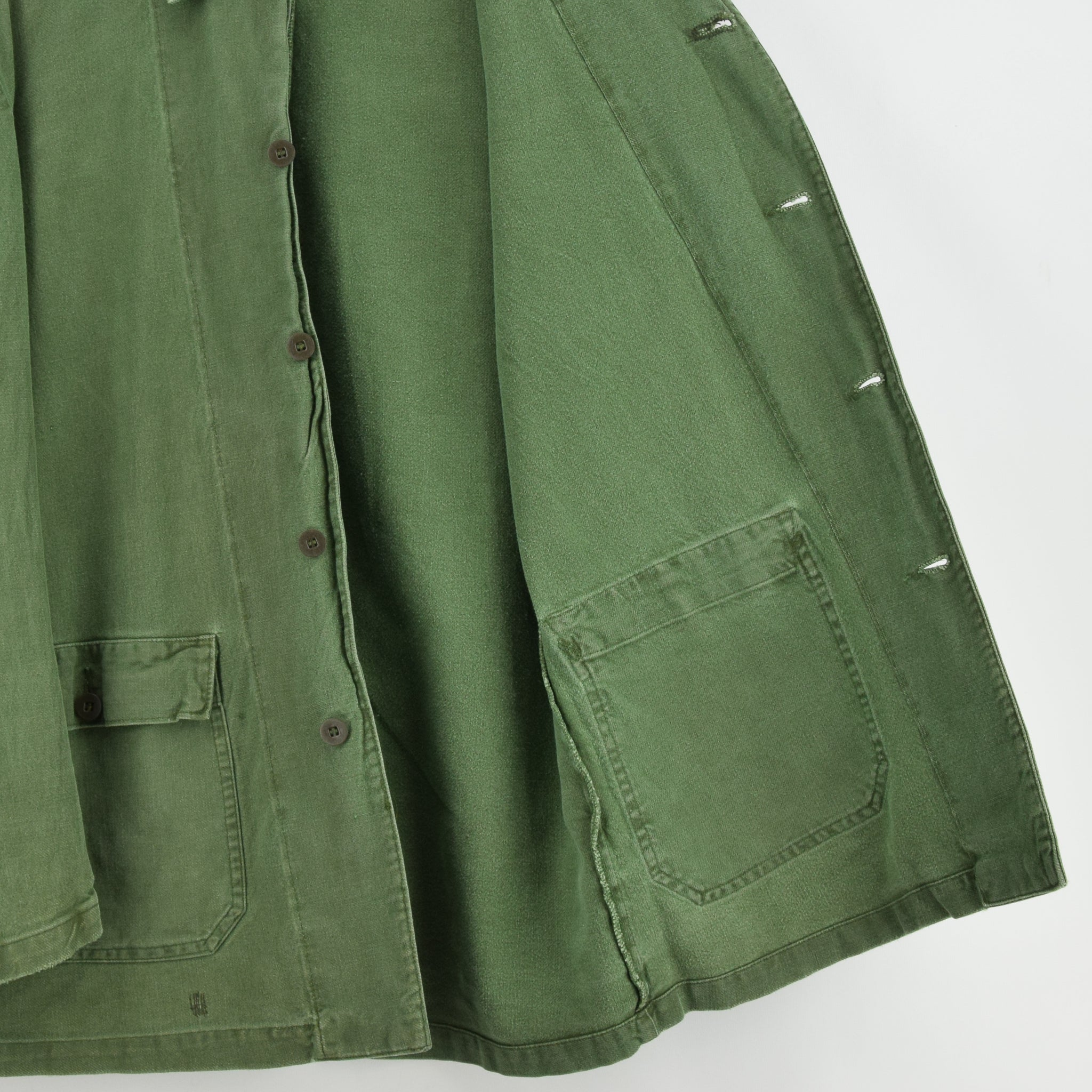 Vintage Swedish Worker Style Distressed Green Military Cotton Field Jacket M / L lining