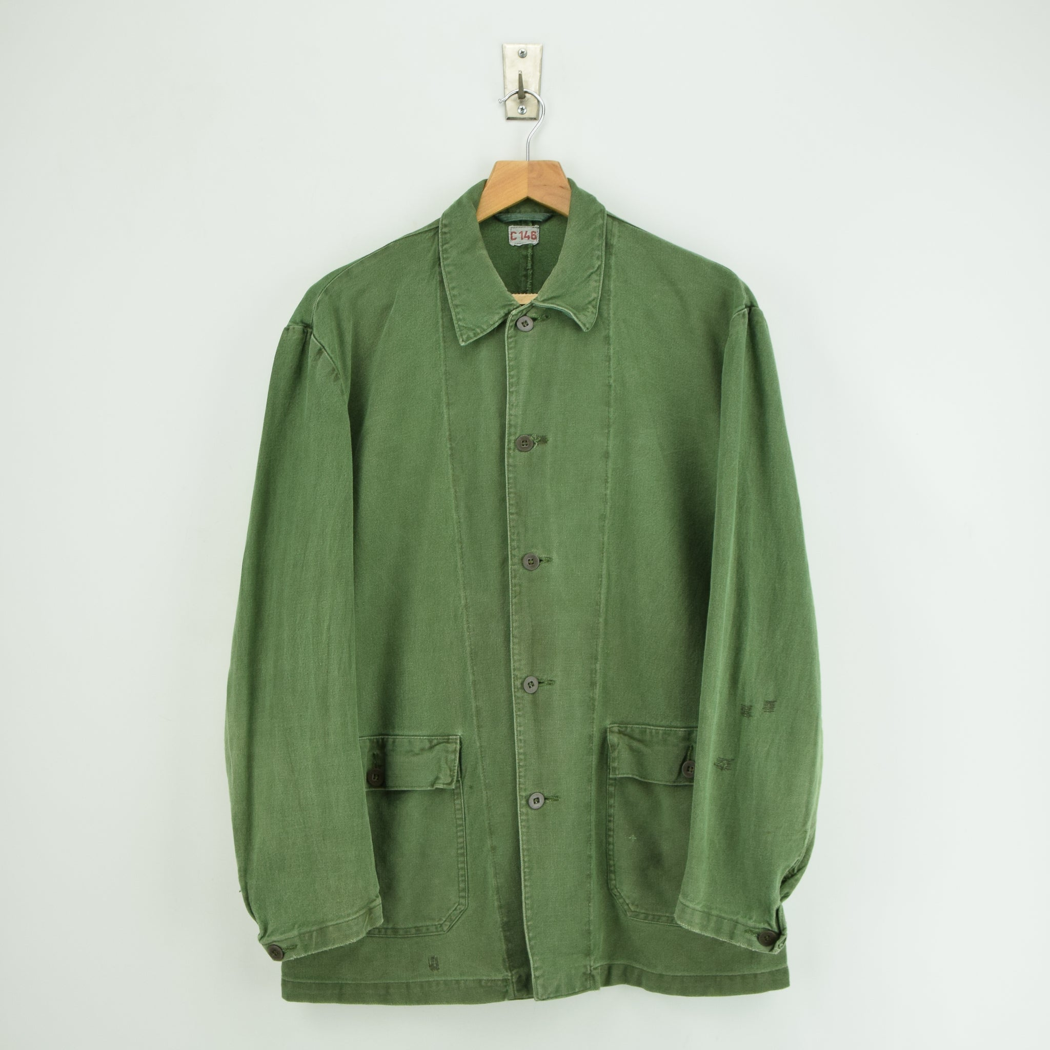 Vintage Swedish Worker Style Distressed Green Military Cotton Field Jacket M / L front