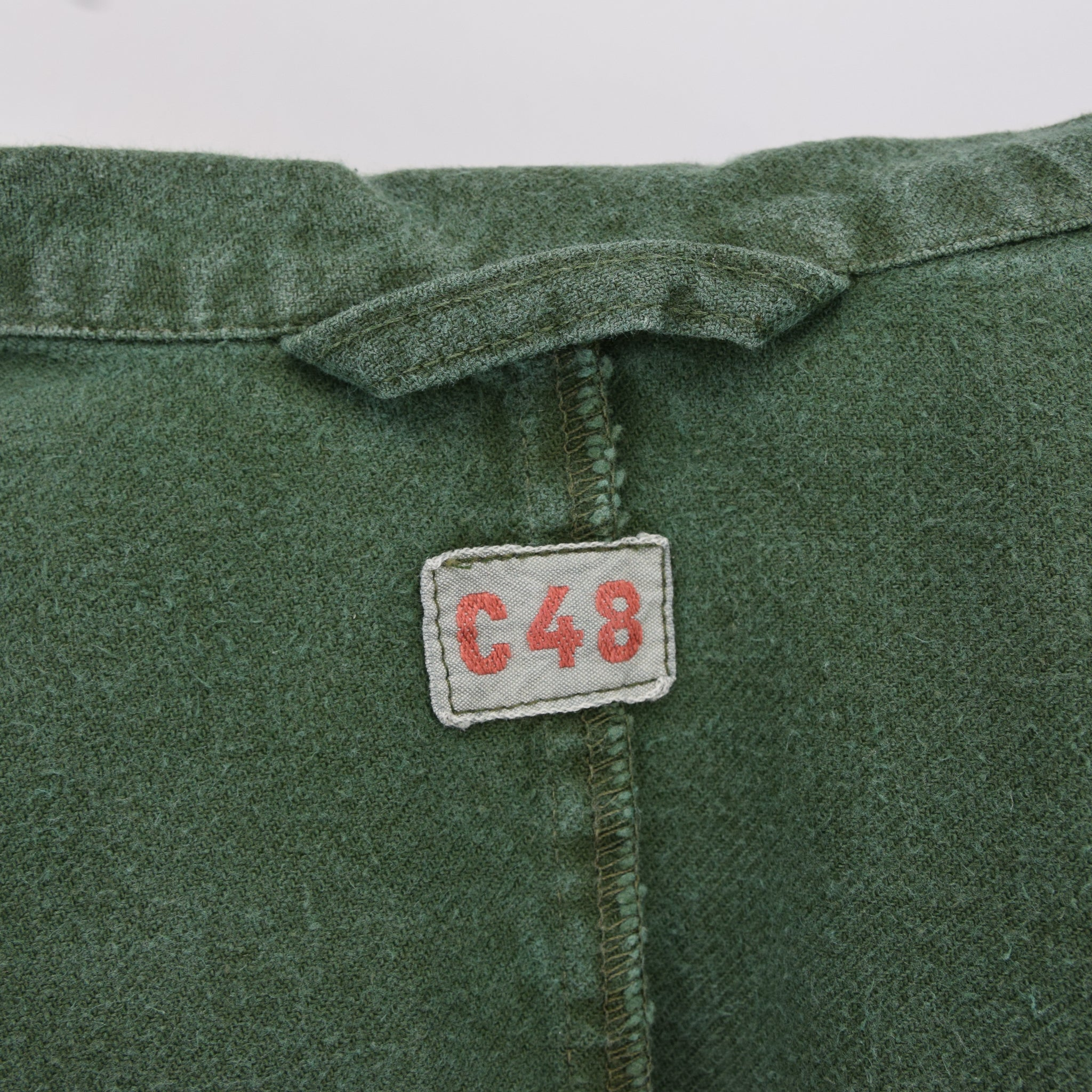Vintage Swedish Worker Style Green Distressed Military Cotton Field Jacket M / L label