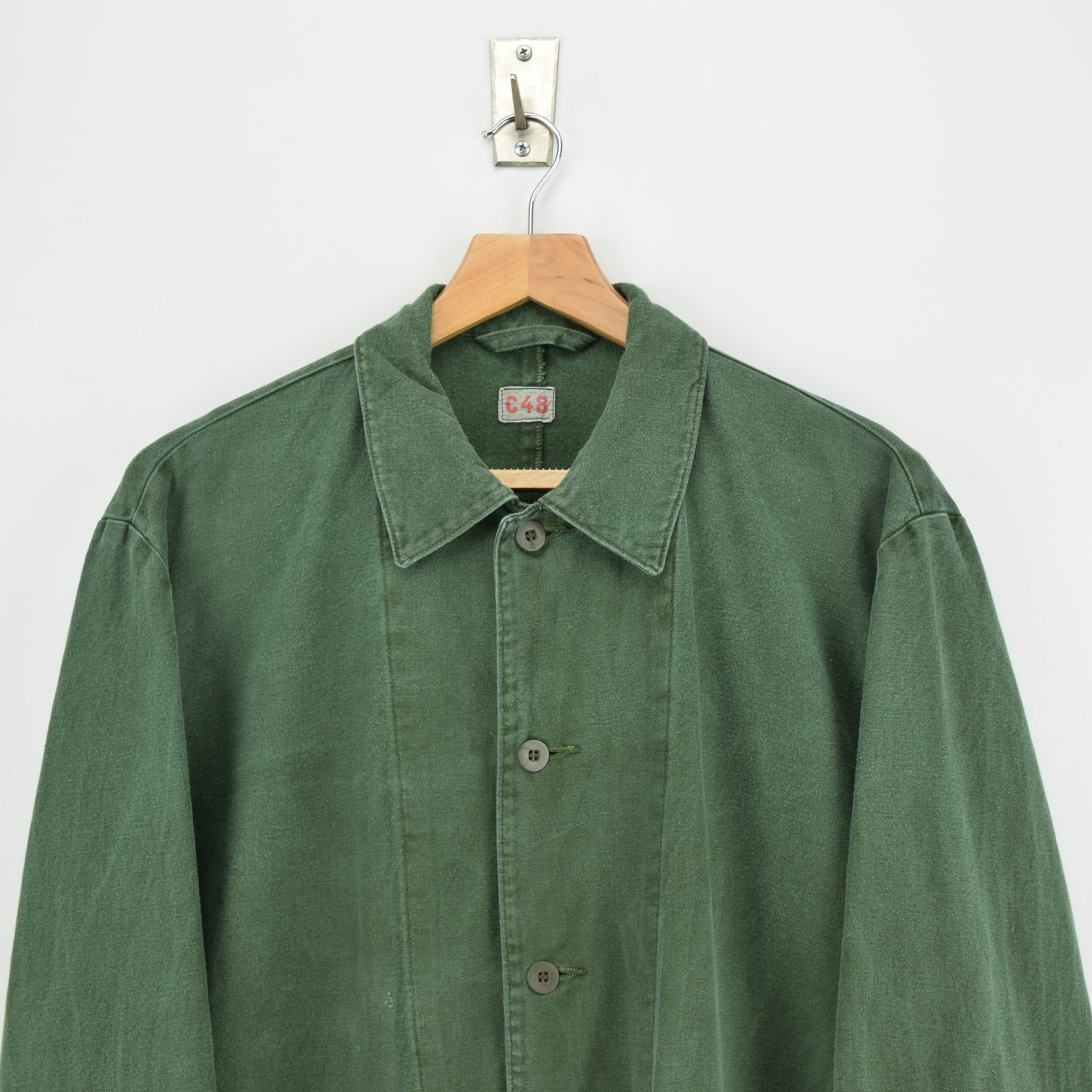 Vintage Swedish Worker Style Green Distressed Military Cotton Field Jacket M / L chest