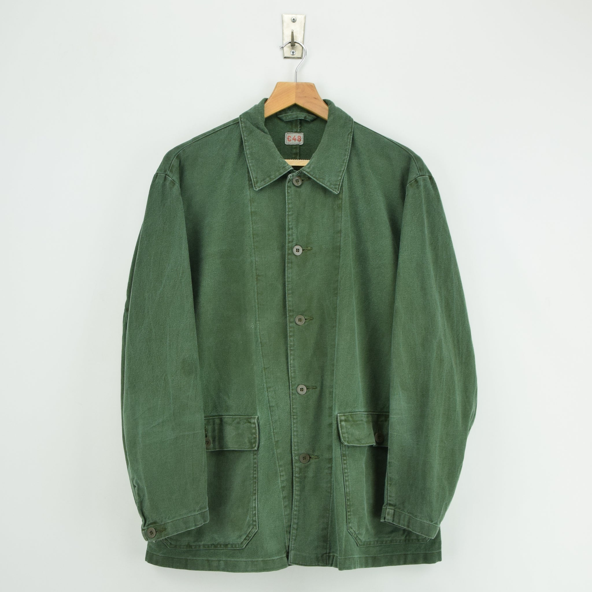 Vintage Swedish Worker Style Green Distressed Military Cotton Field Jacket M / L front