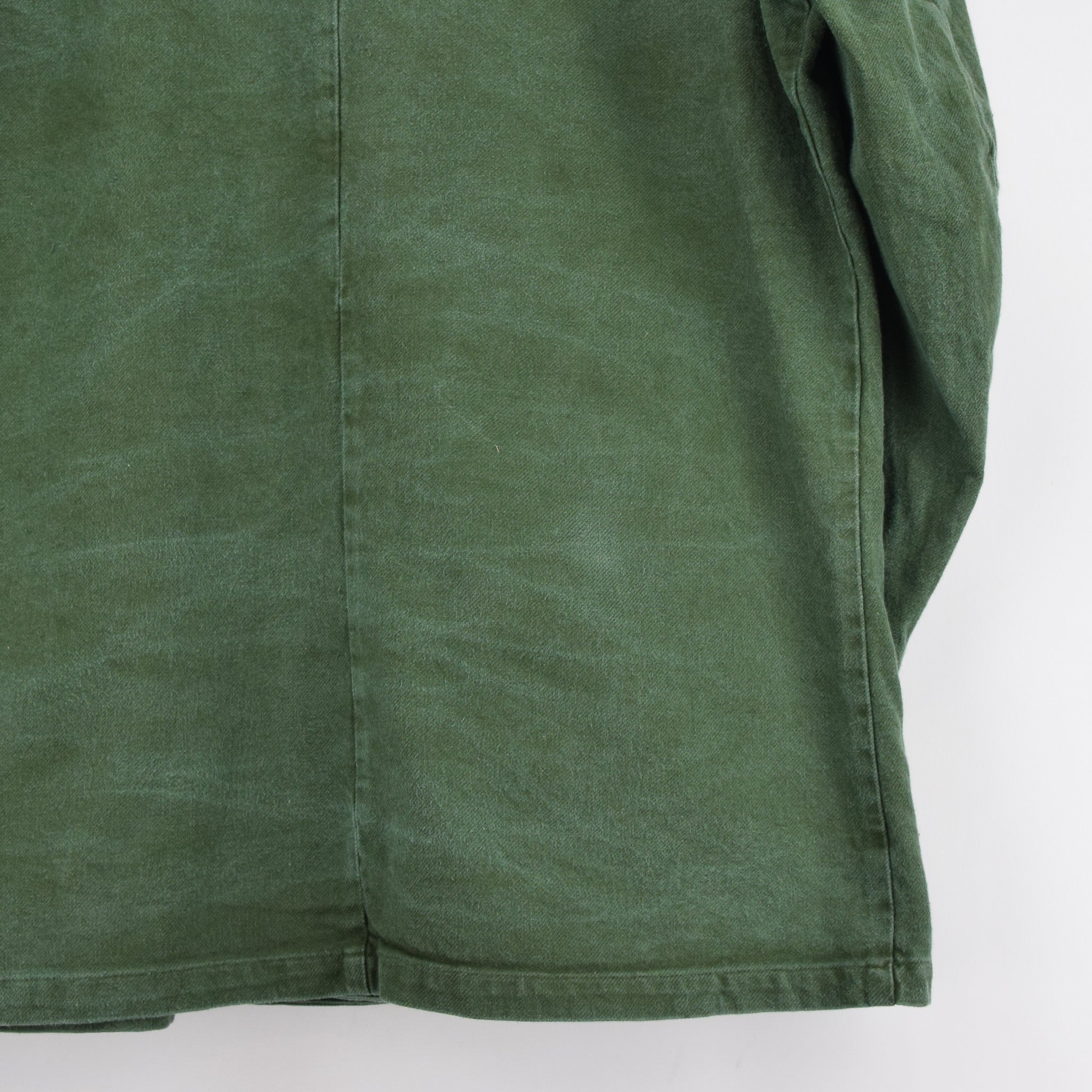 Vintage Swedish Worker Style Green Distressed Military Cotton Field Jacket L back hem