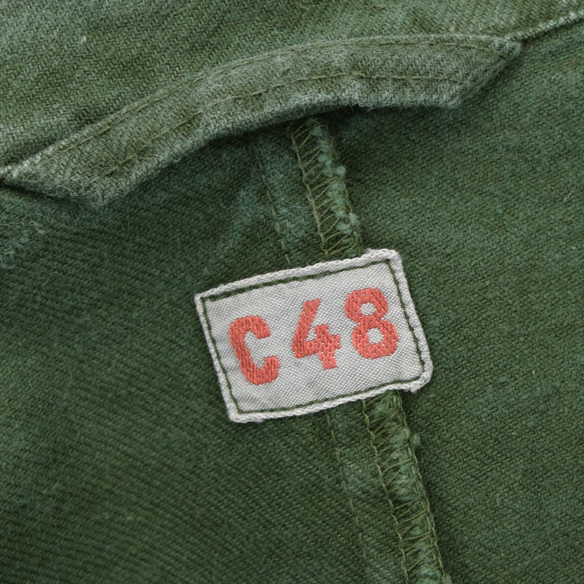 Vintage Swedish Worker Style Green Distressed Military Cotton Field Jacket L label