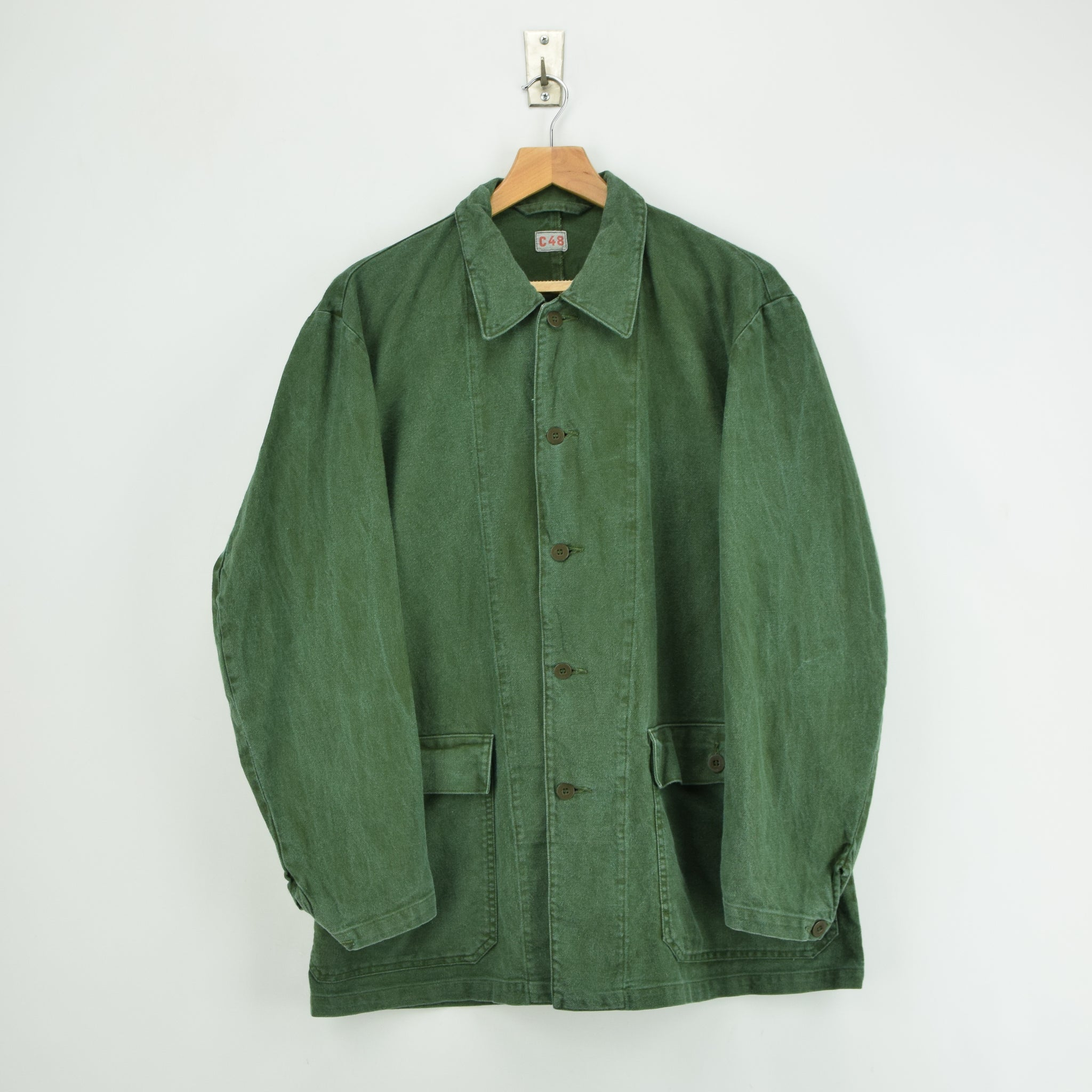 Vintage Swedish Worker Style Green Distressed Military Cotton Field Jacket L front