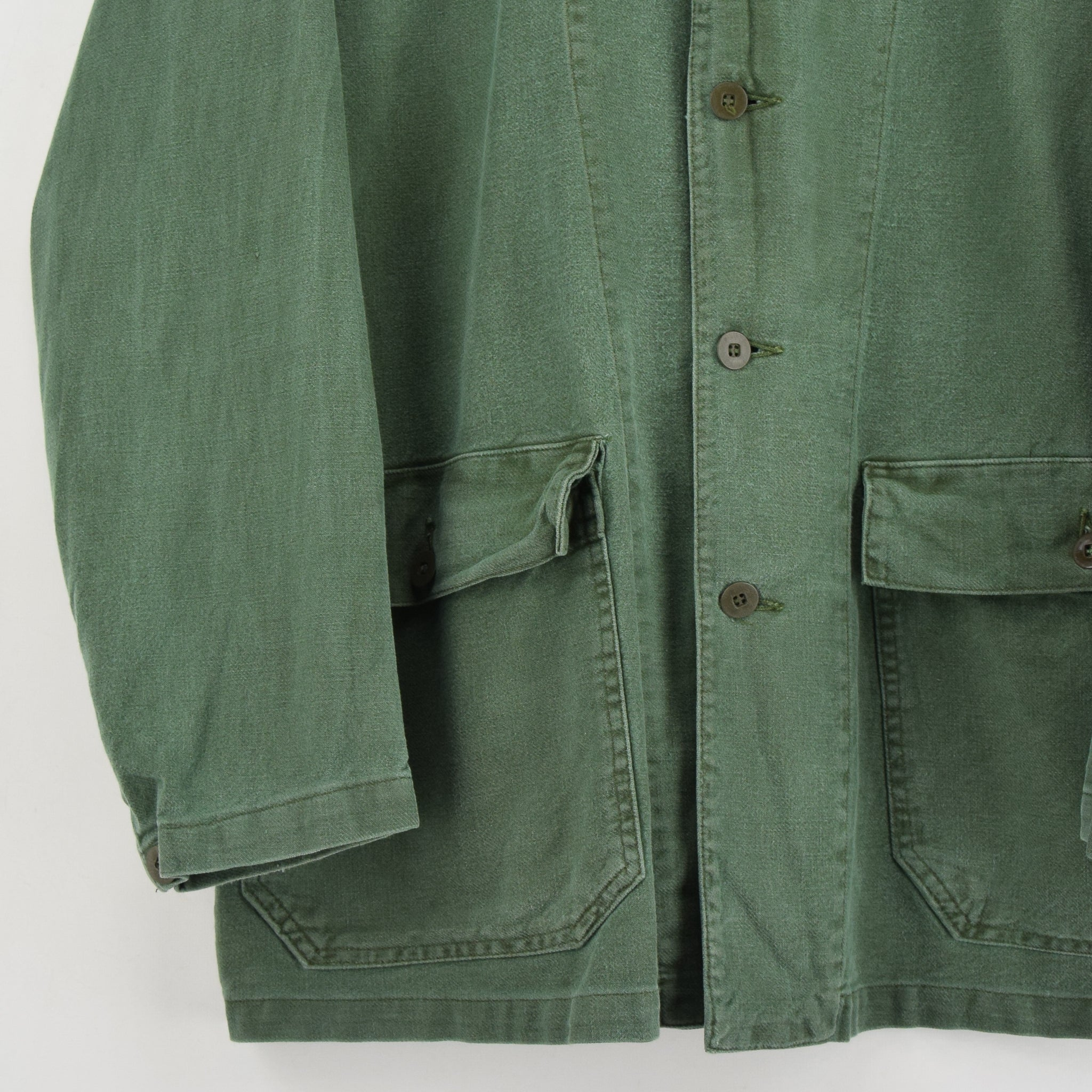Vintage Swedish Worker Style Green Distressed Military Cotton Field Jacket M / L front hem