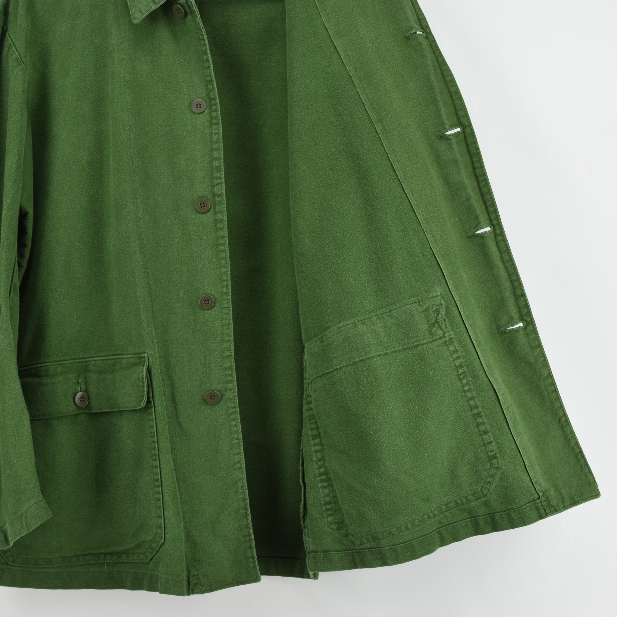 Vintage Swedish Worker Style Green Distressed Military Cotton Field Jacket M / L lining