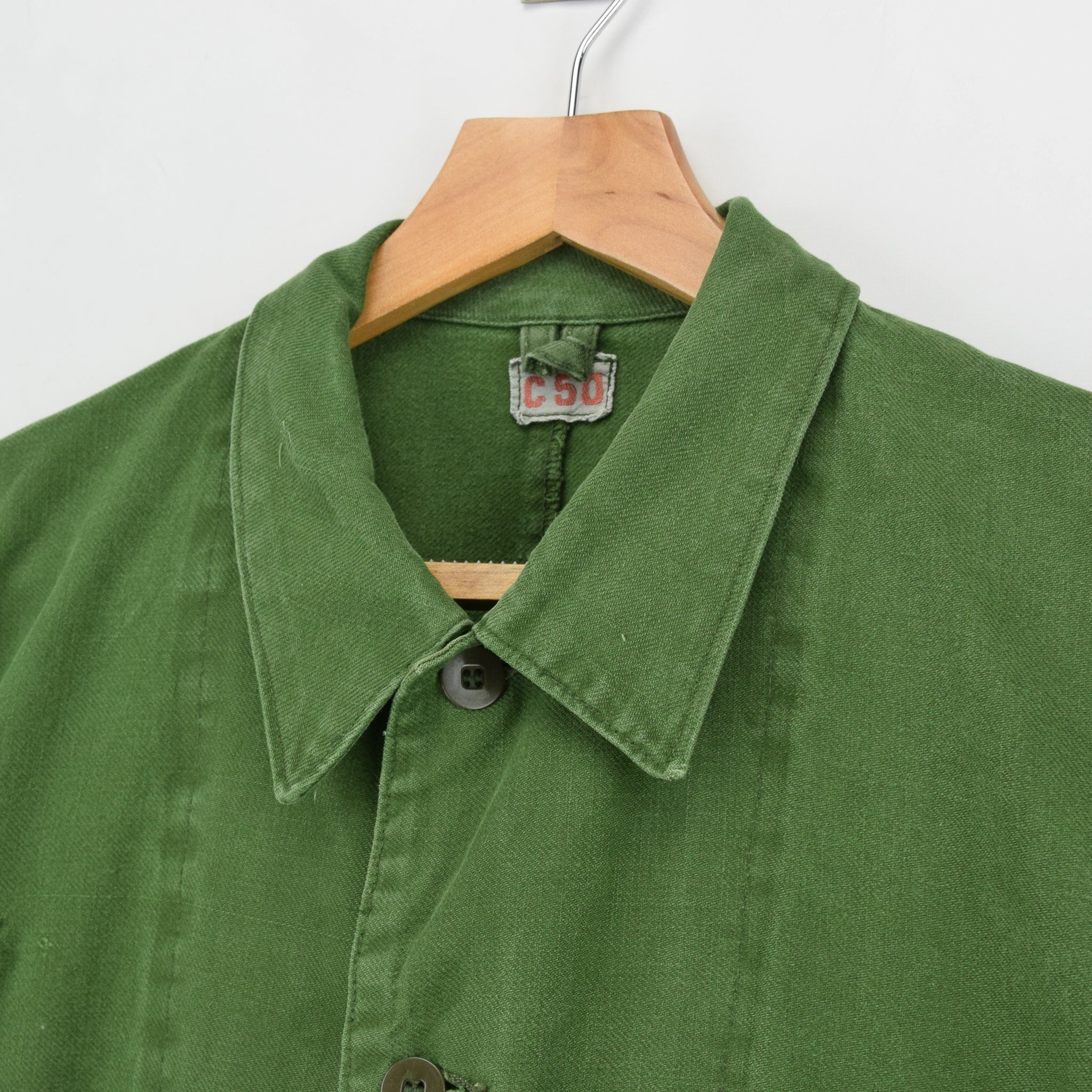 Vintage Swedish Worker Style Green Distressed Military Cotton Field Jacket M / L collar