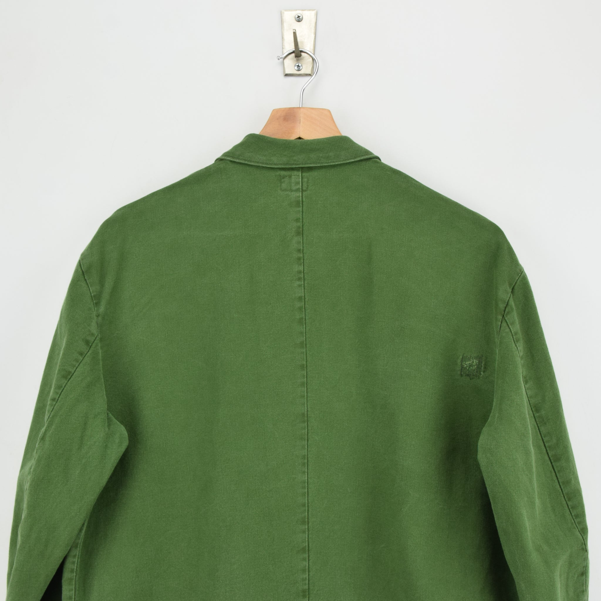 Vintage Swedish Worker Style Green Distressed Military Cotton Field Jacket M / L shoulders