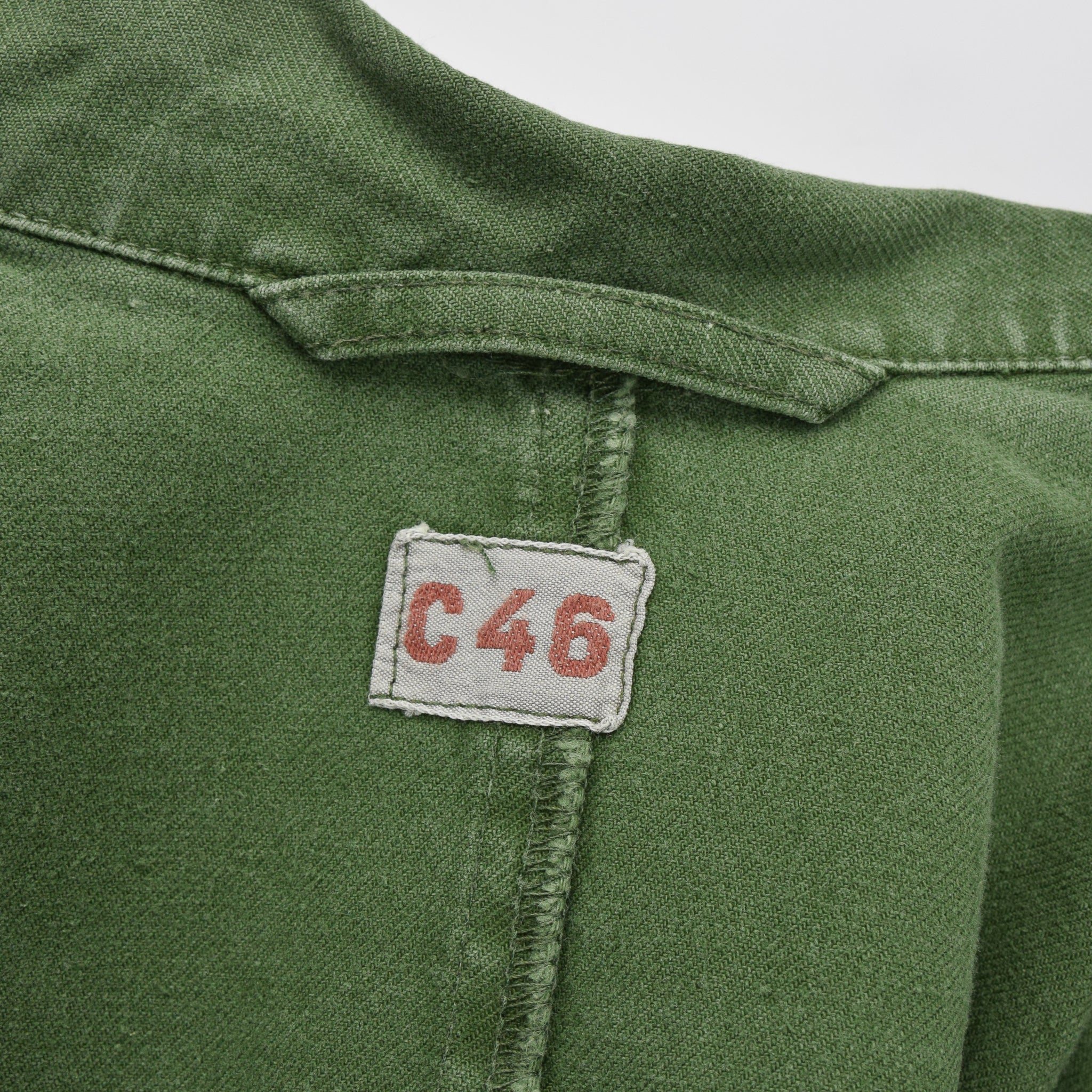 Vintage Swedish Worker Style Green Distressed Military Cotton Field Jacket M label