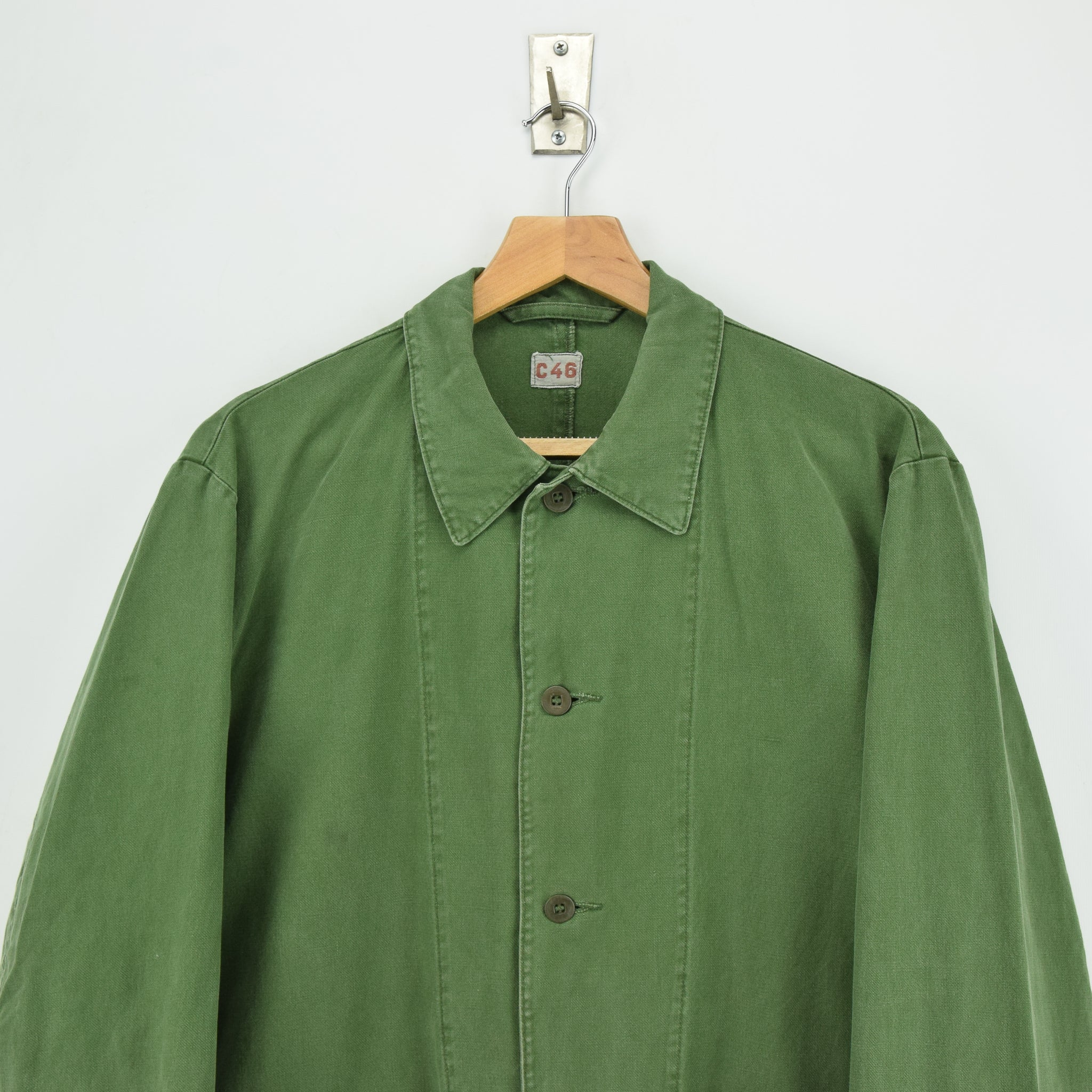 Vintage Swedish Worker Style Green Distressed Military Cotton Field Jacket M chest