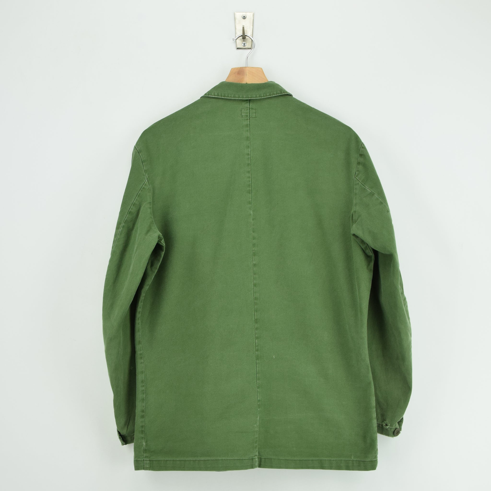 Vintage Swedish Worker Style Green Distressed Military Cotton Field Jacket M back