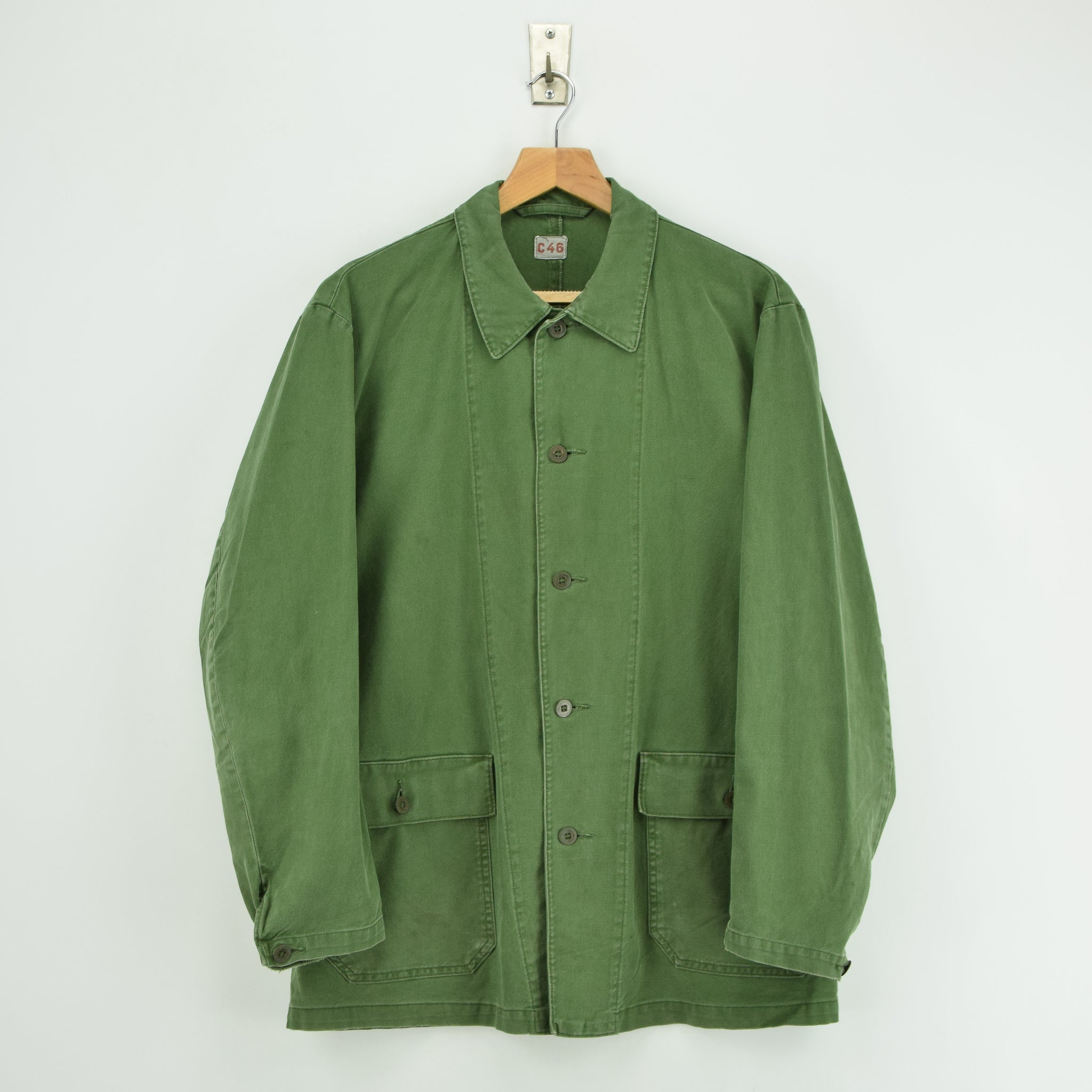 Vintage Swedish Worker Style Green Distressed Military Cotton Field Jacket M front