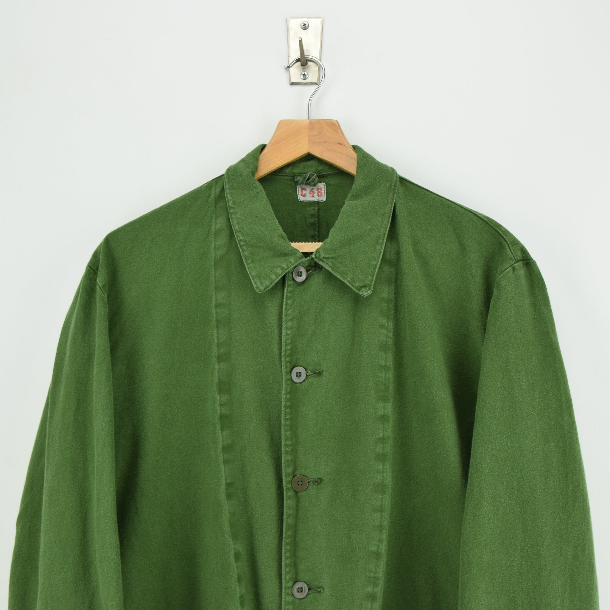 Vintage Swedish Worker Style Distressed Green Military Field Jacket M / L chest