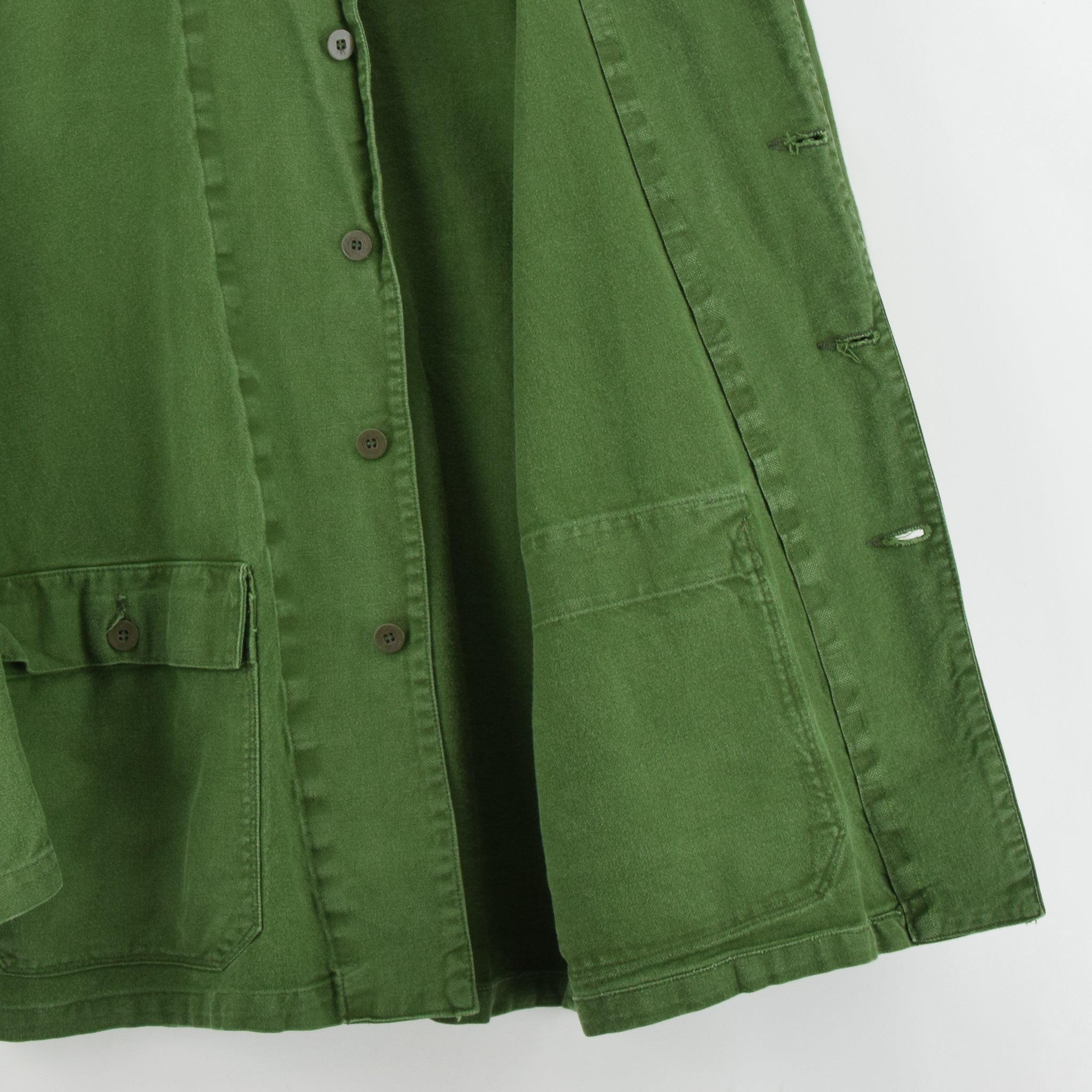 Vintage Swedish Worker Style Distressed Green Military Field Jacket M / L lining