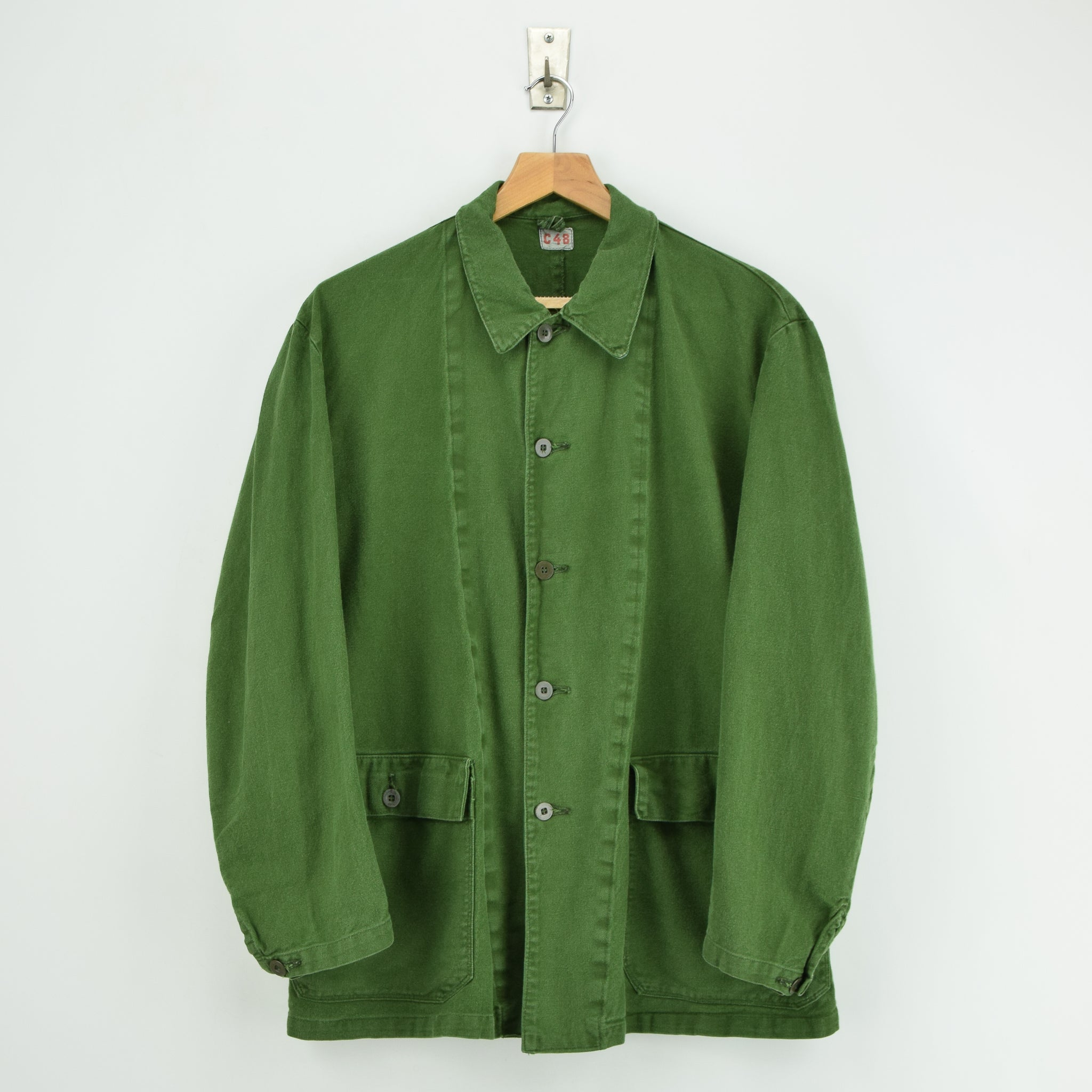 Vintage Swedish Worker Style Distressed Green Military Field Jacket M / L front