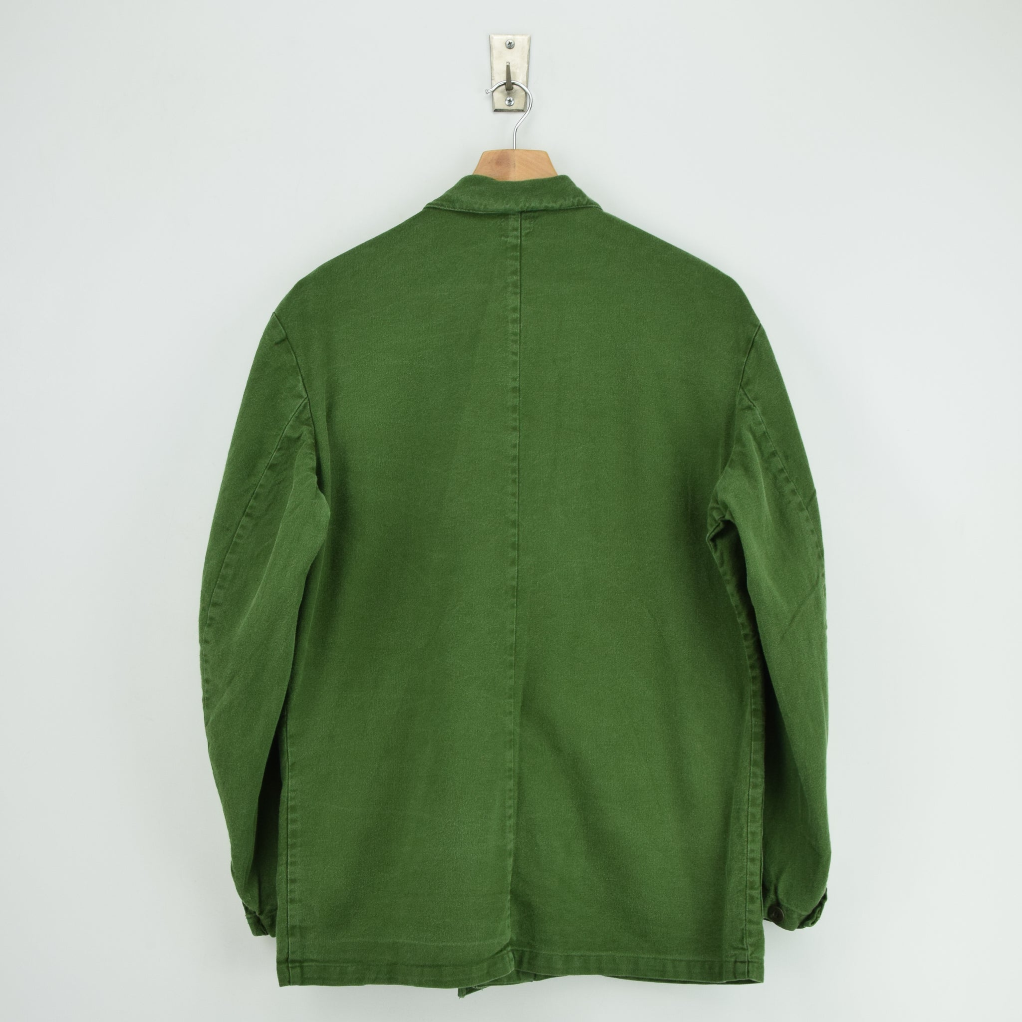 Vintage Swedish Worker Style Distressed Green Military Field Jacket M / L back