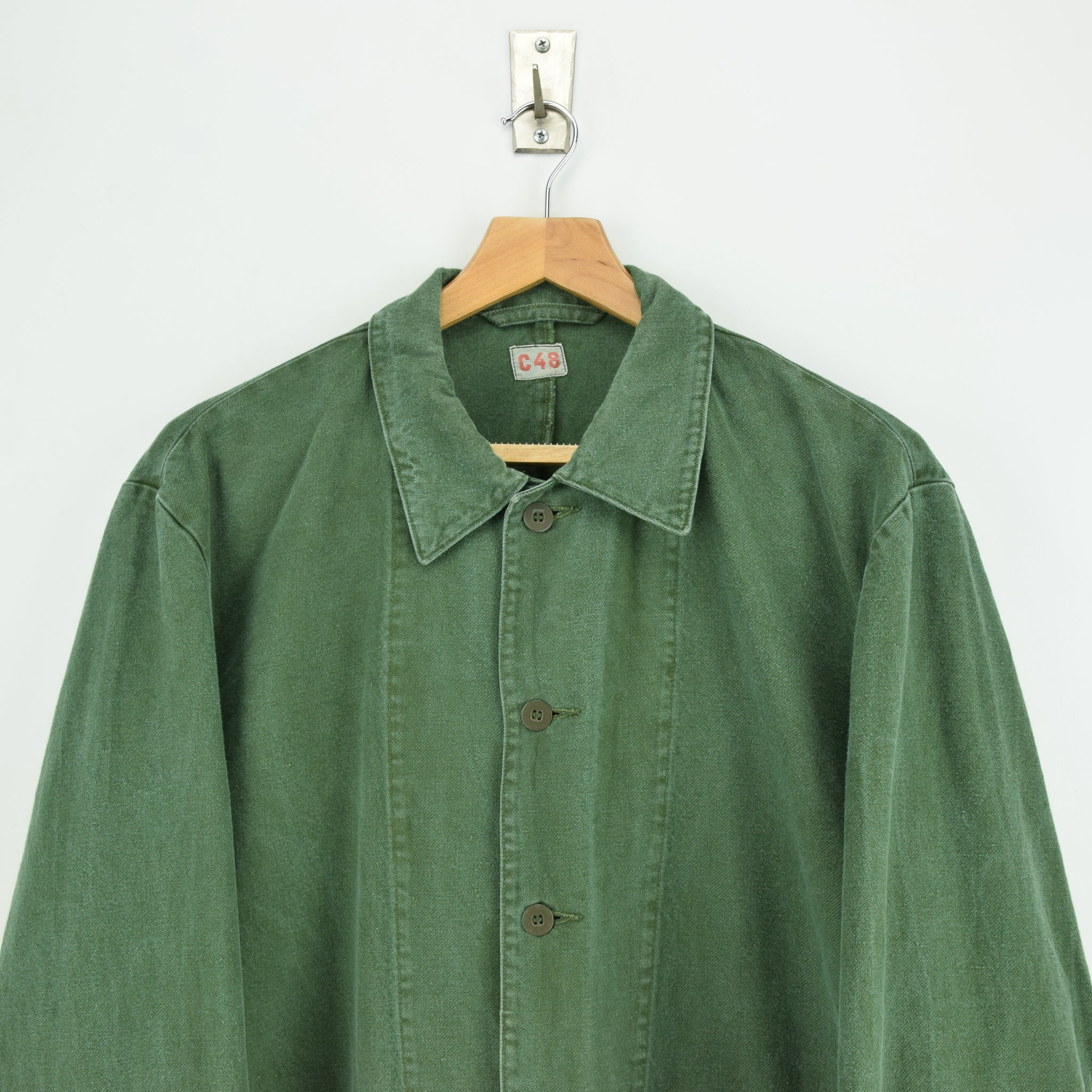 Vintage Swedish Worker Style Green Distressed Military Cotton Field Jacket L chest