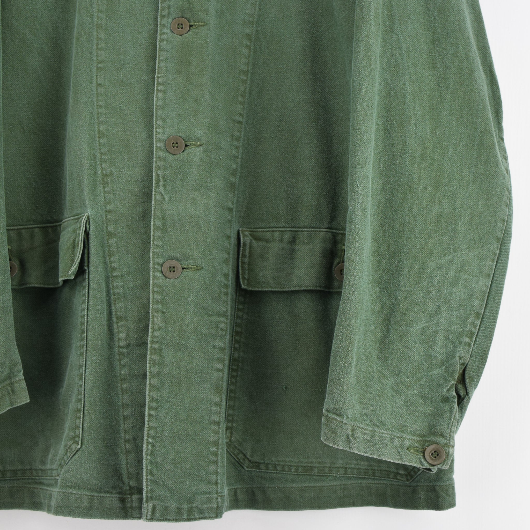 Vintage Swedish Worker Style Green Distressed Military Cotton Field Jacket L front hem