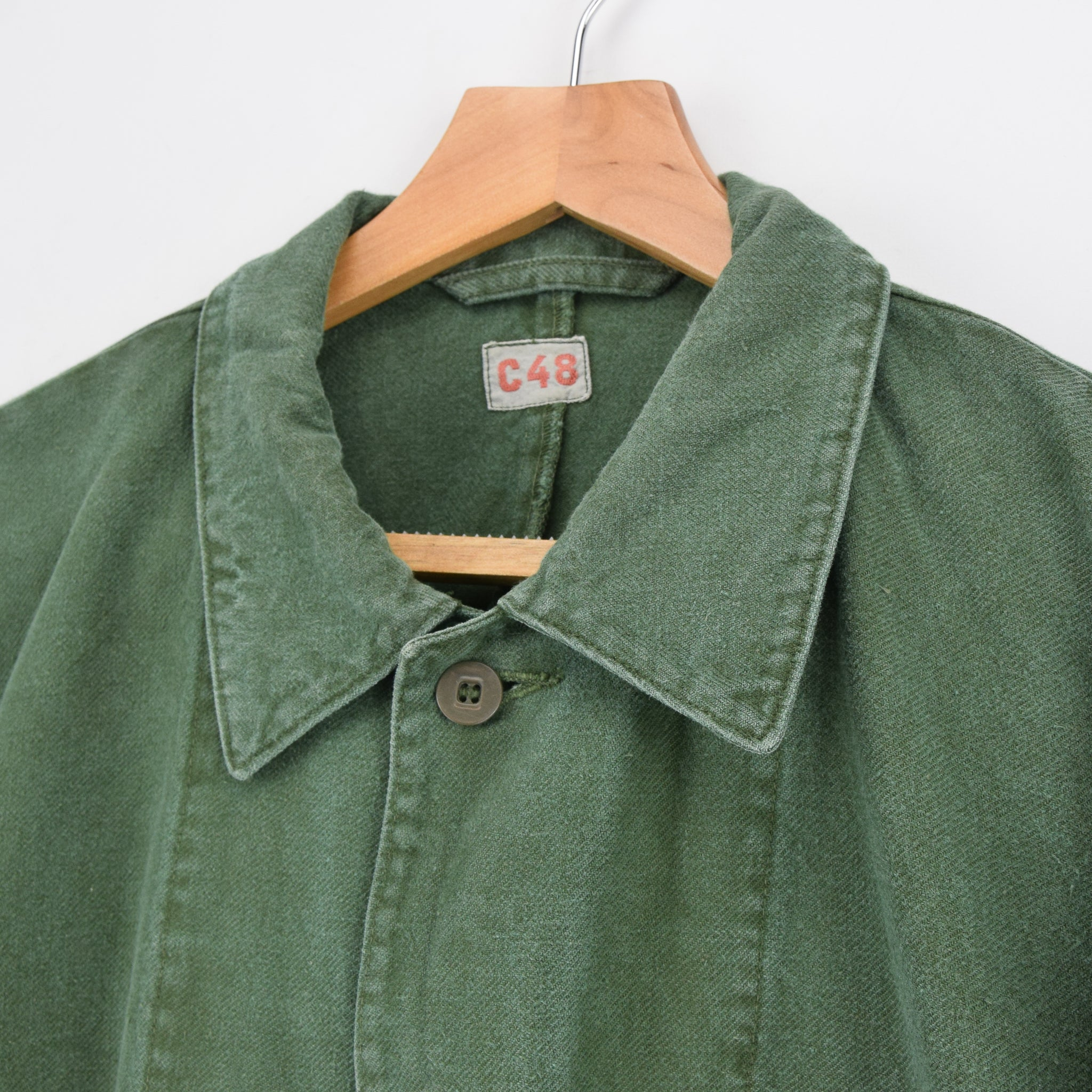 Vintage Swedish Worker Style Green Distressed Military Cotton Field Jacket L collar