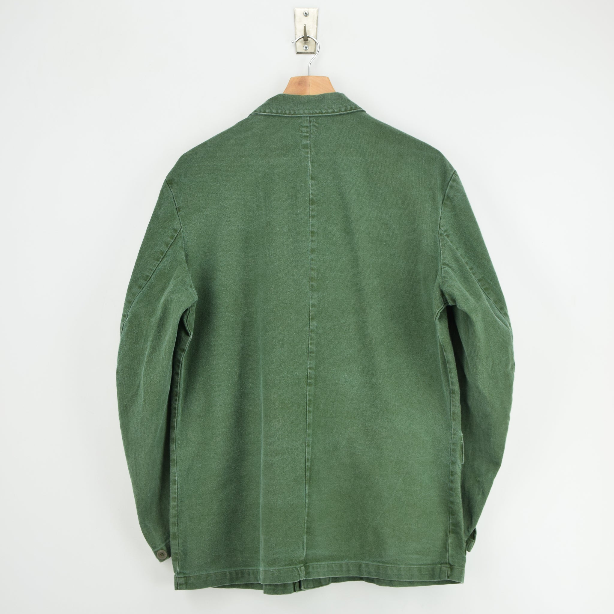 Vintage Swedish Worker Style Green Distressed Military Cotton Field Jacket L back