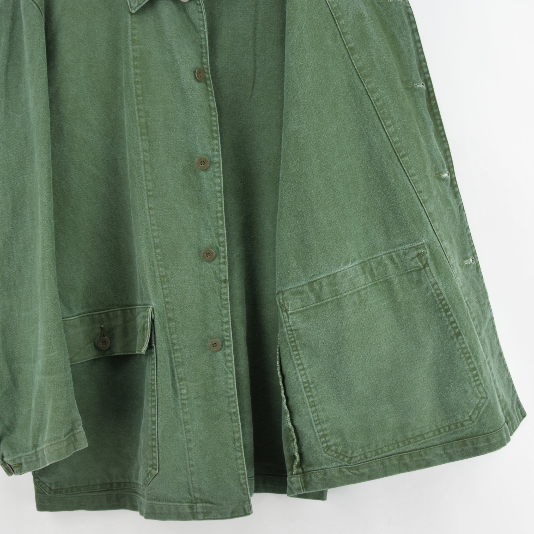 Vintage Swedish Worker Style Green Distressed Military Cotton Field Jacket L lining