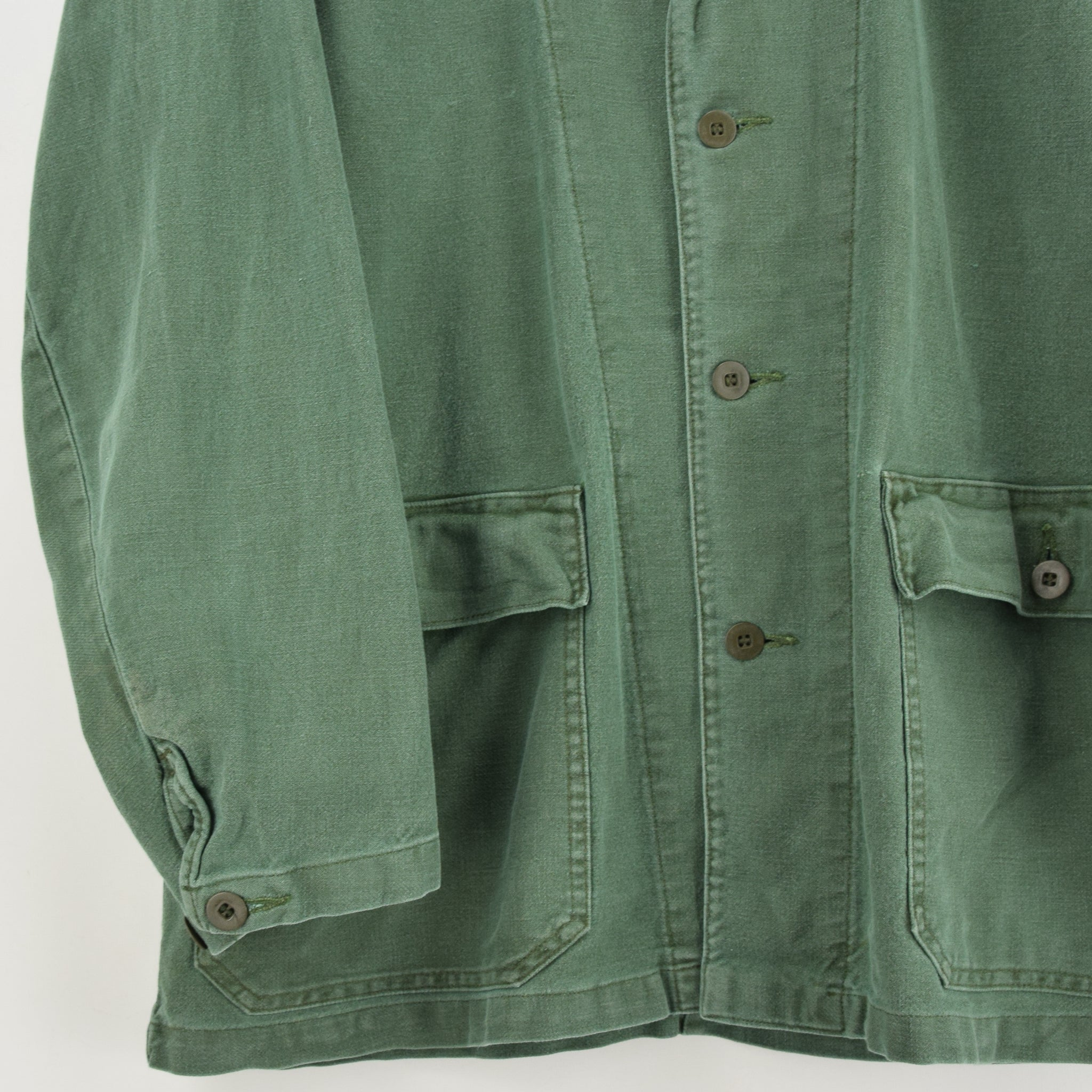 Vintage Swedish Worker Style Green Distressed Military Cotton Field Jacket M front hem