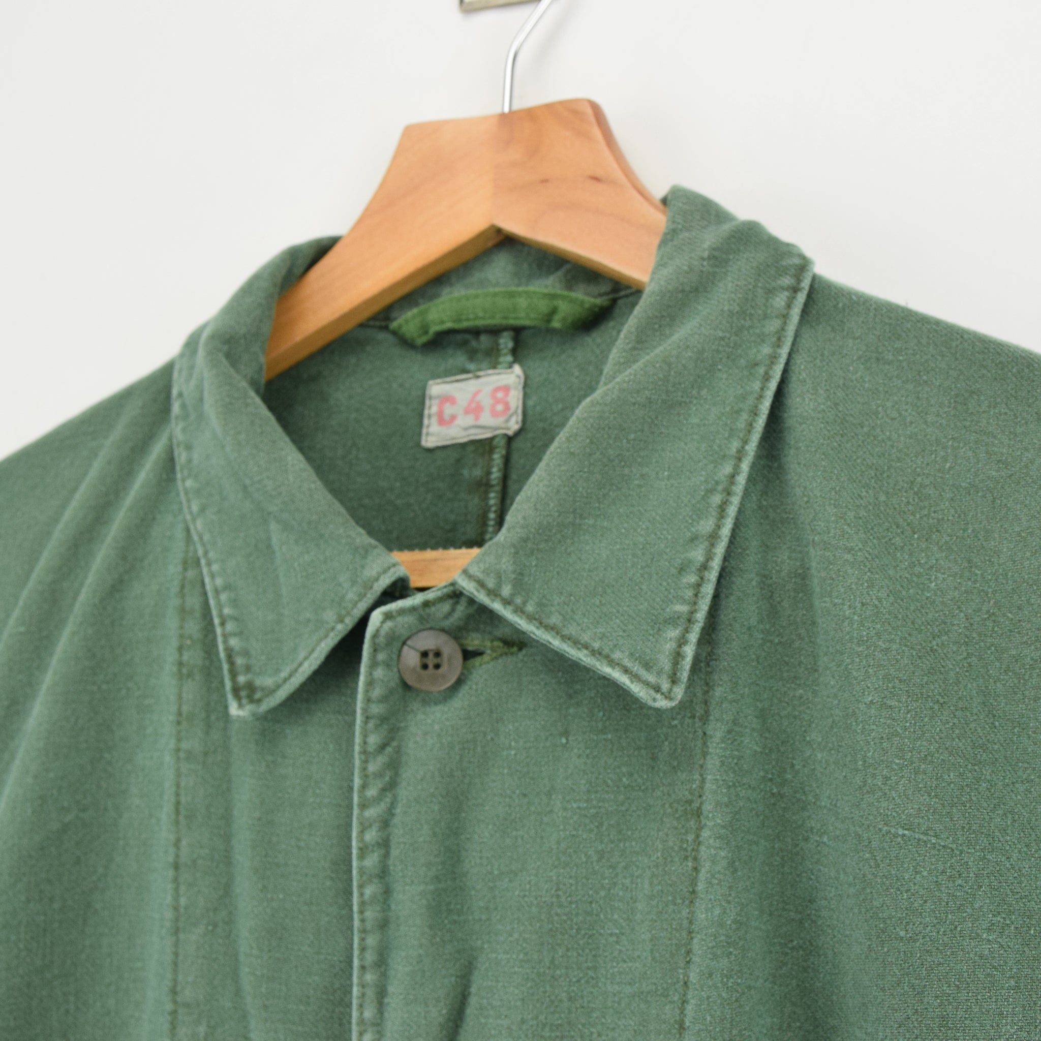 Vintage Swedish Worker Style Green Distressed Military Cotton Field Jacket M collar