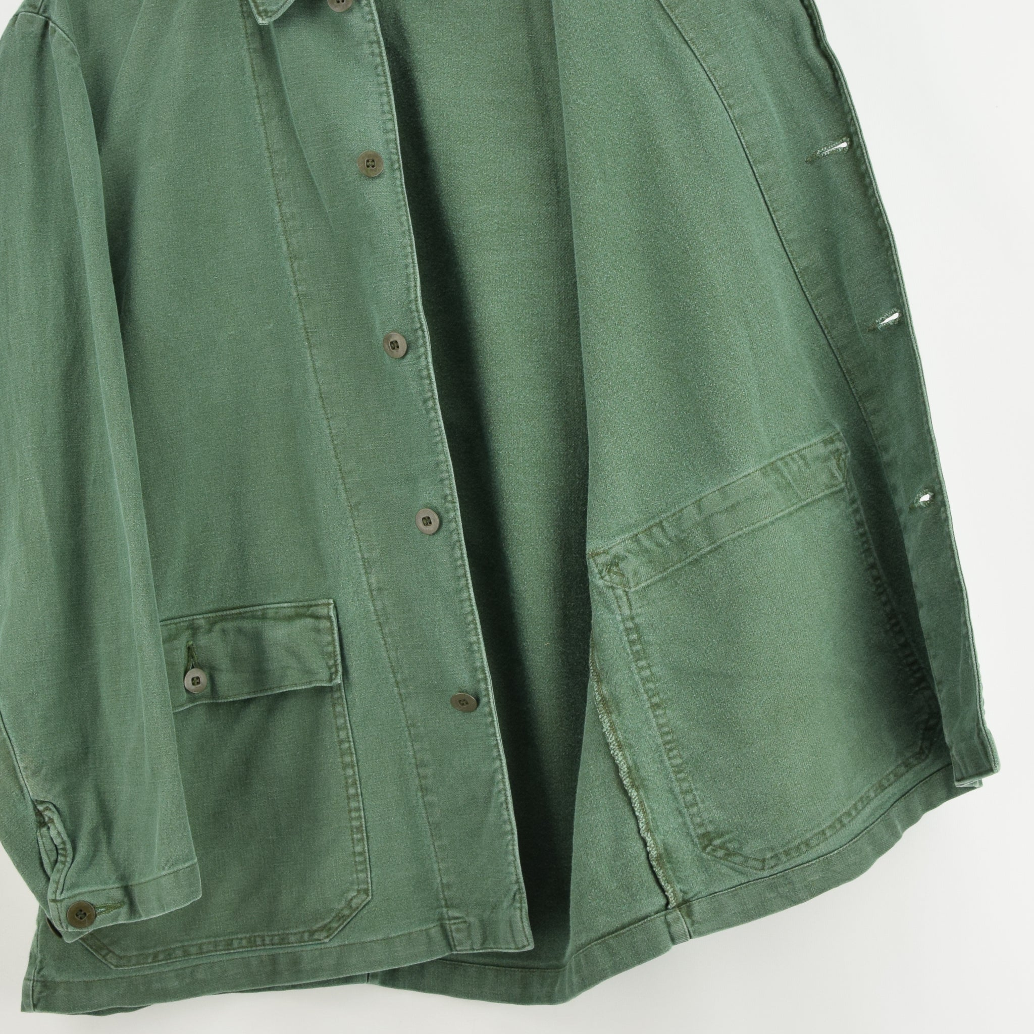 Vintage Swedish Worker Style Green Distressed Military Cotton Field Jacket M lining