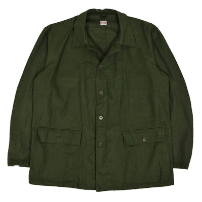 Vintage Swedish Military Field Jacket Worker Style Green XXL front