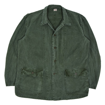 Vintage Distressed Swedish Military Field Jacket Worker Style Green L / XL front