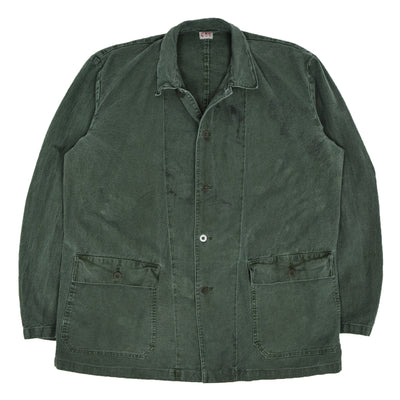 Vintage Distressed Swedish Military Field Jacket Worker Style Green XL front