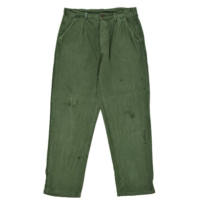 Vintage 70s Distressed Swedish Military Field Trousers Worker Style Green 32 W front