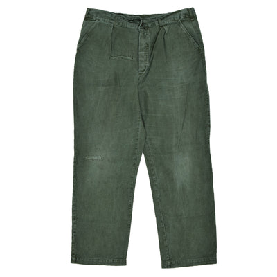 Vintage Distressed Swedish Military Field Trousers Worker Style Green 40 W front