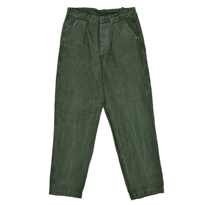 Vintage Swedish Military Field Trousers Worker Style Distressed Green 32 W front