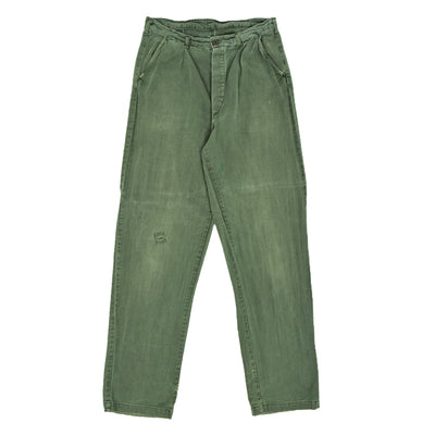 Vintage 70s Distressed Swedish Military Field Trousers Worker Style Green 30 W front