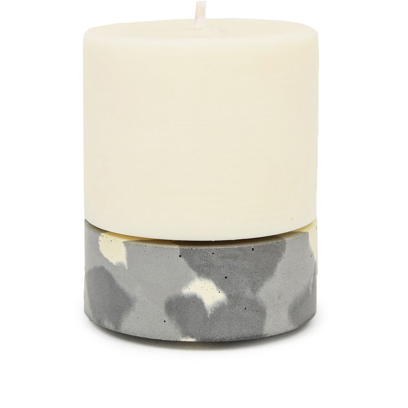 Concrete & Wax Amber Noir Candle And Snow Camo Concrete Holder Large FRONT