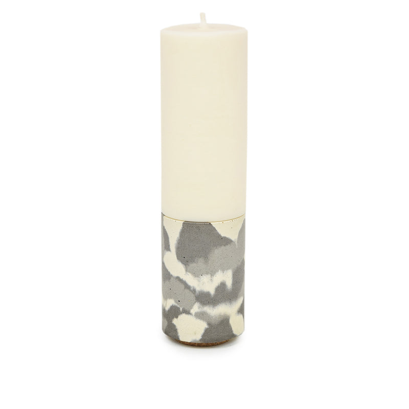 Concrete & Wax Amber Noir Candle And Snow Camo Concrete Holder Slim CANDLE