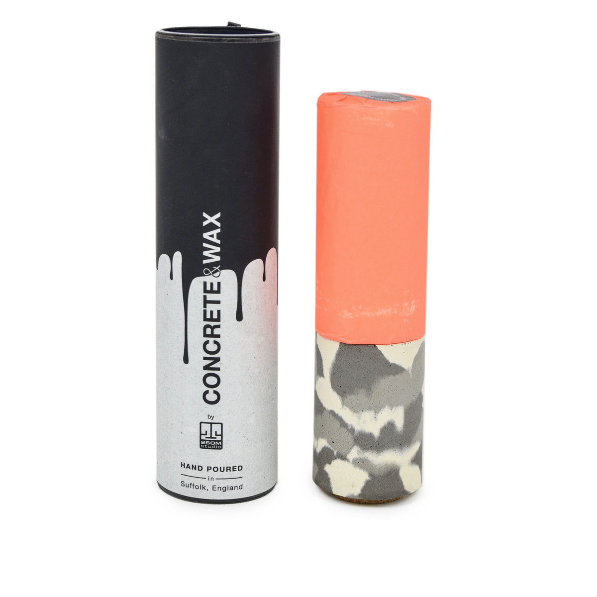 Concrete & Wax Amber Noir Candle And Snow Camo Concrete Holder Slim PACKAGING