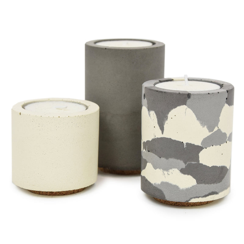 Concrete & Wax Beeswax Candle And Snow Camo Tealight Concrete Holders Slim CANDLES